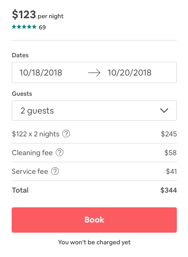 After putting dates in - price went up & fees added