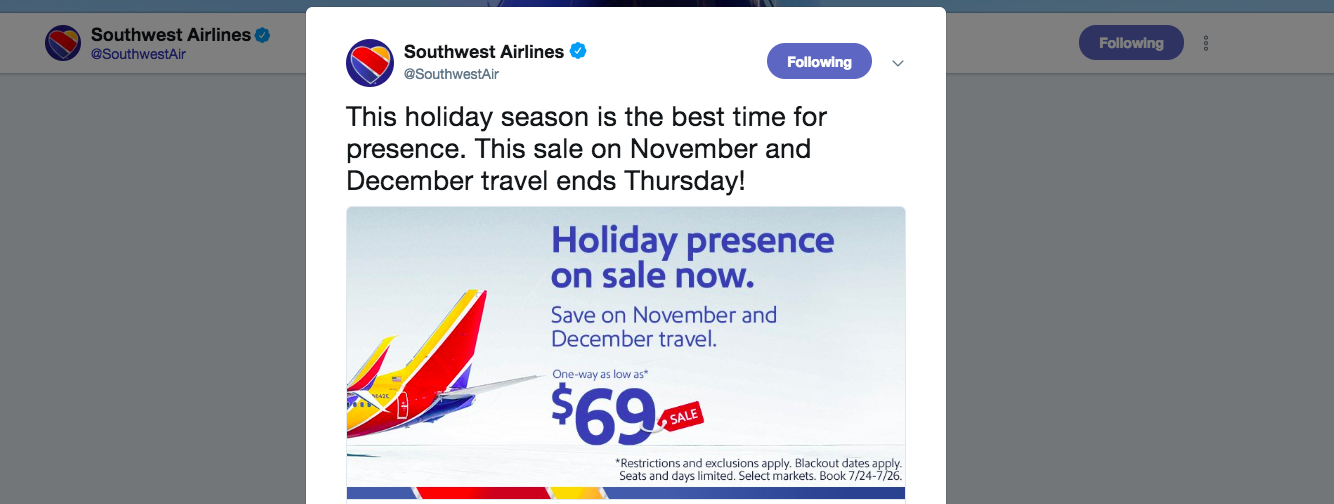 Southwest promoting a good deal on twitter