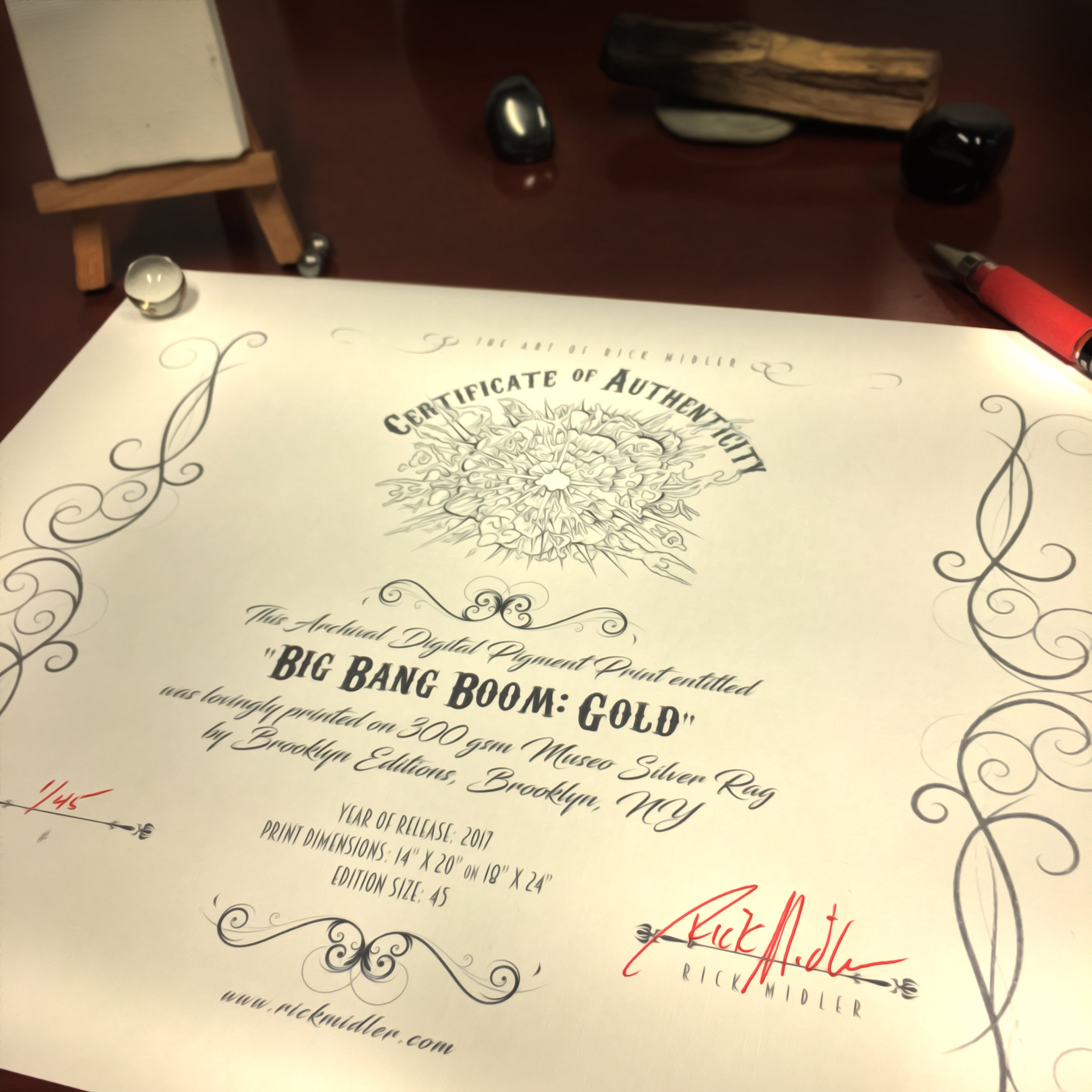 Every Big Bang Boom print comes with a signed Certificate of Authenticity.