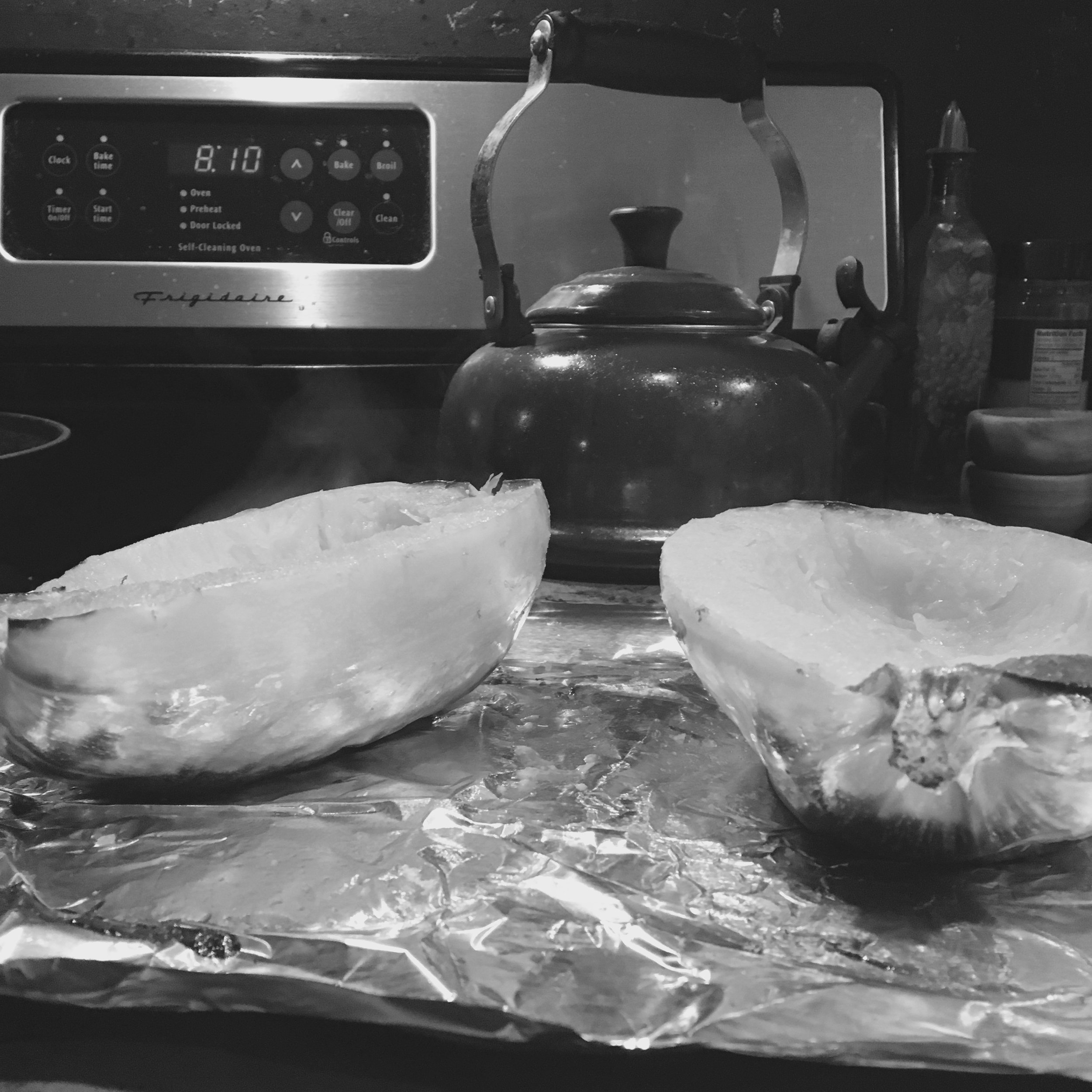 I used the black and white so you could see the steam pouring out of this vegetable cauldron ten minutes after it came out of the oven. Also, you can see how damned late we're having dinner.