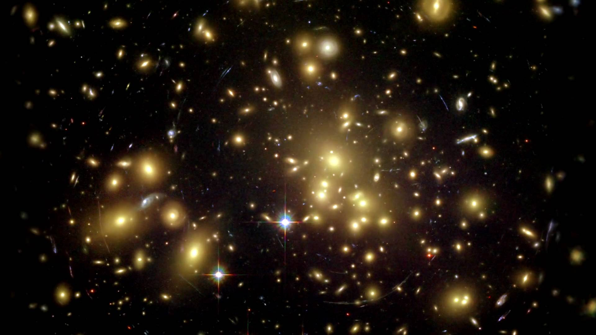 GRAVITY LENS - Galaxy Cluster Abell 1689 Hubble Space Telescope NASA, N. Benitez (JHU), T. Broadhurst (The Hebrew University), H. Ford (JHU), M. Clampin (STcl), G Hartig (STScl), GIllingworth (UCO/Lick Observatory), the ACS Science Team and ESA STSck-PRC03-01a