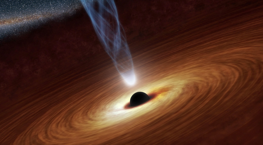 Illustration of a supermassive black hole wth millions to billions times the mass of our sun. Image credit: NASA/JPL-Caltech