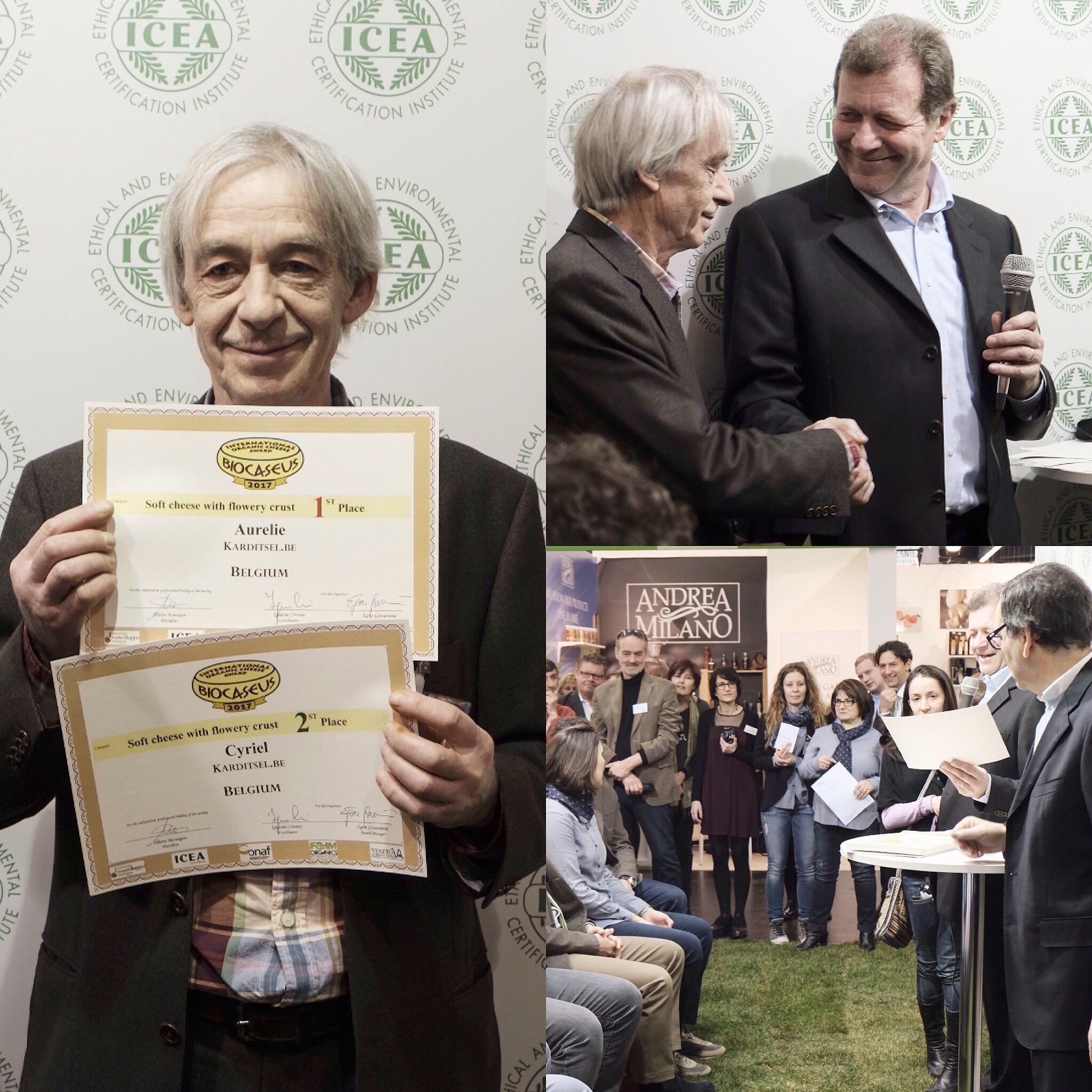 Meester kaasmaker Giedo De Snijder neemt de 1ste en 2de prijs in ontvangst tijdens Biofach.