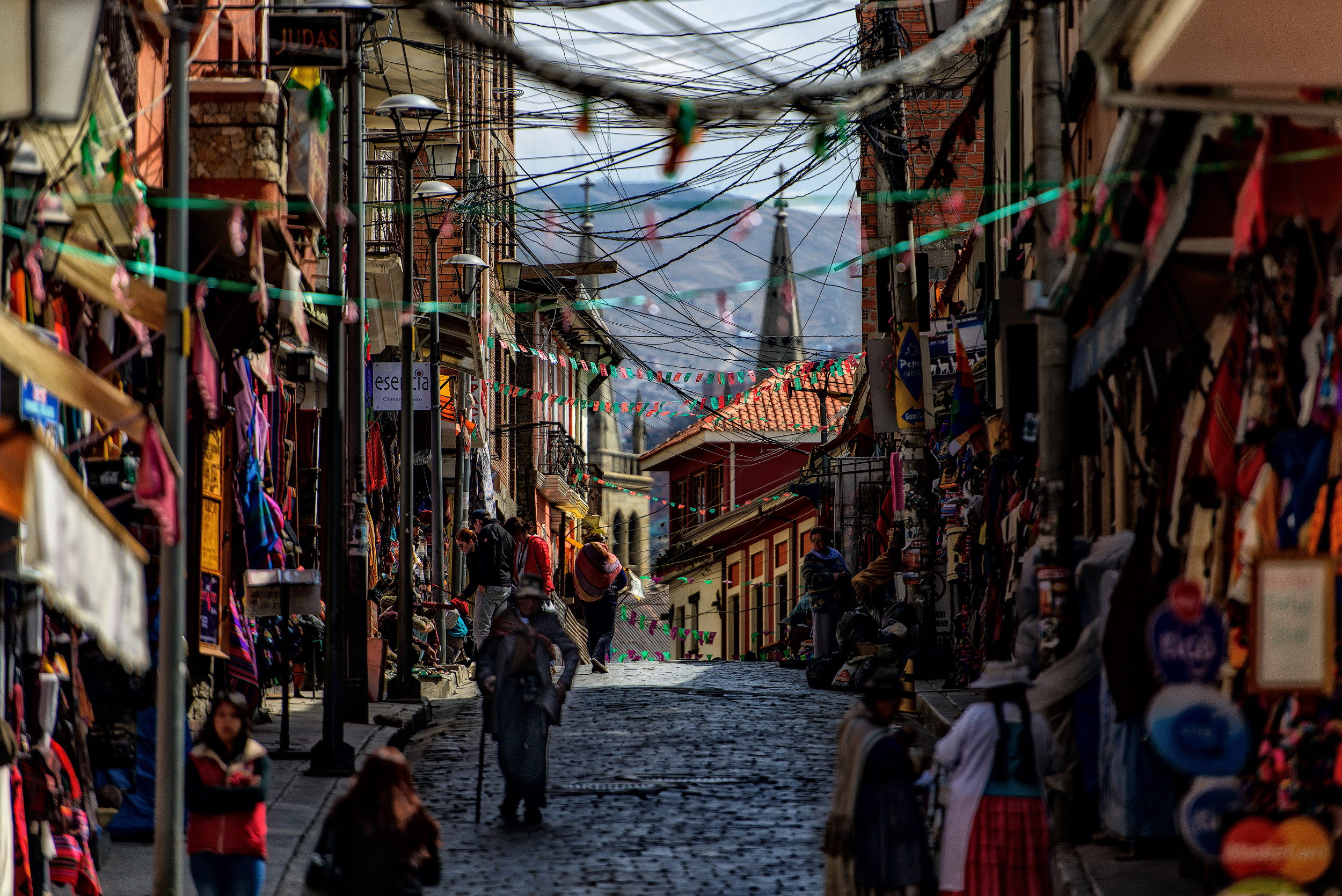 La Paz   Downtown La Paz is a warren of tiny streets and markets with the whole city surrounded by the towering peaks of the Cordilliiera Real