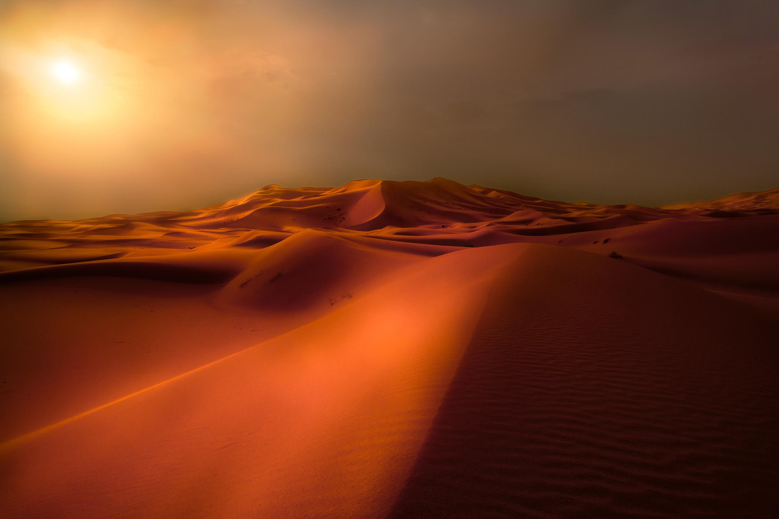 Sahara Storm   A sand storm at dawn in the Sahara desert, Morocco.