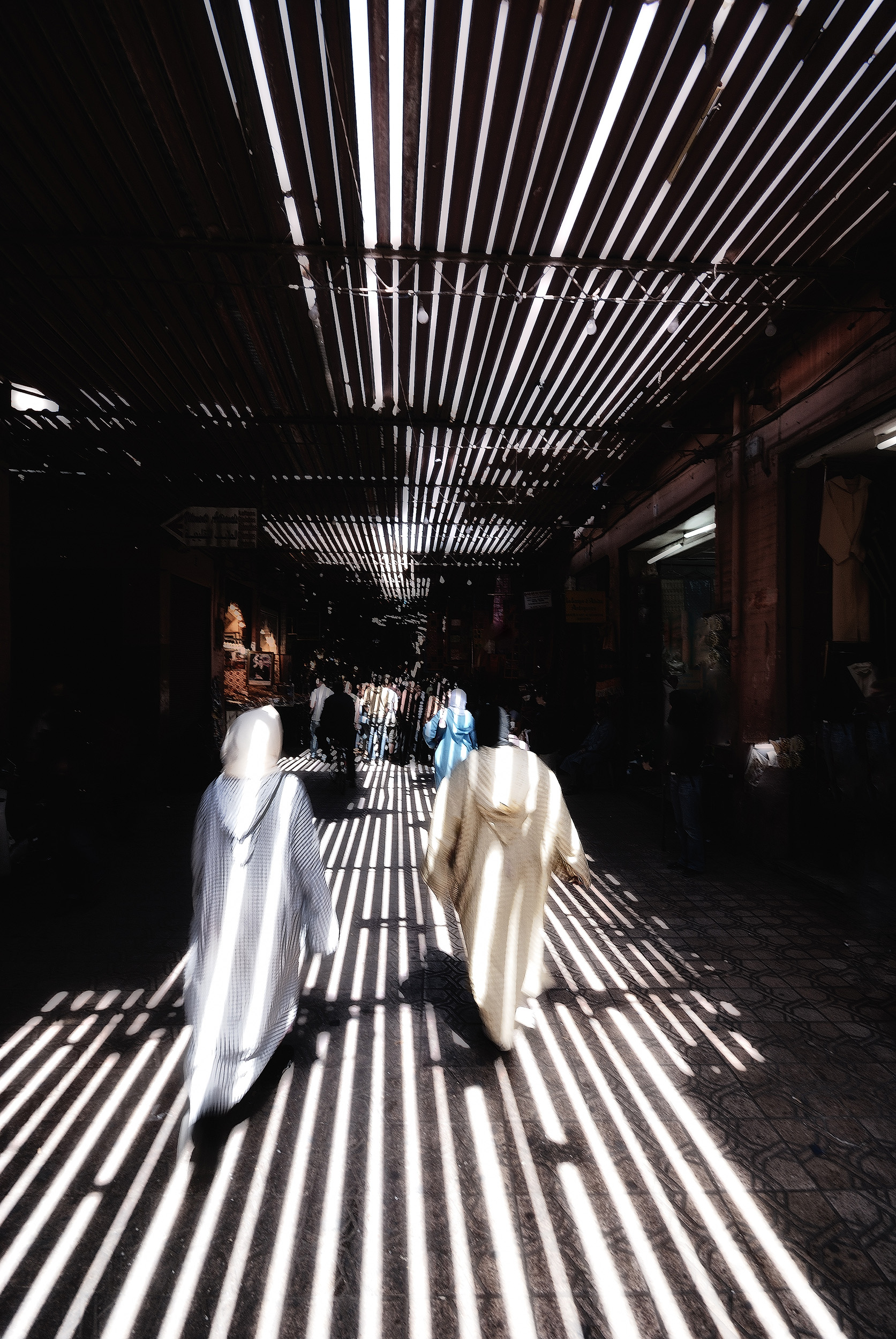 The Souk   Light streams through the roof of the souk in Marrakech