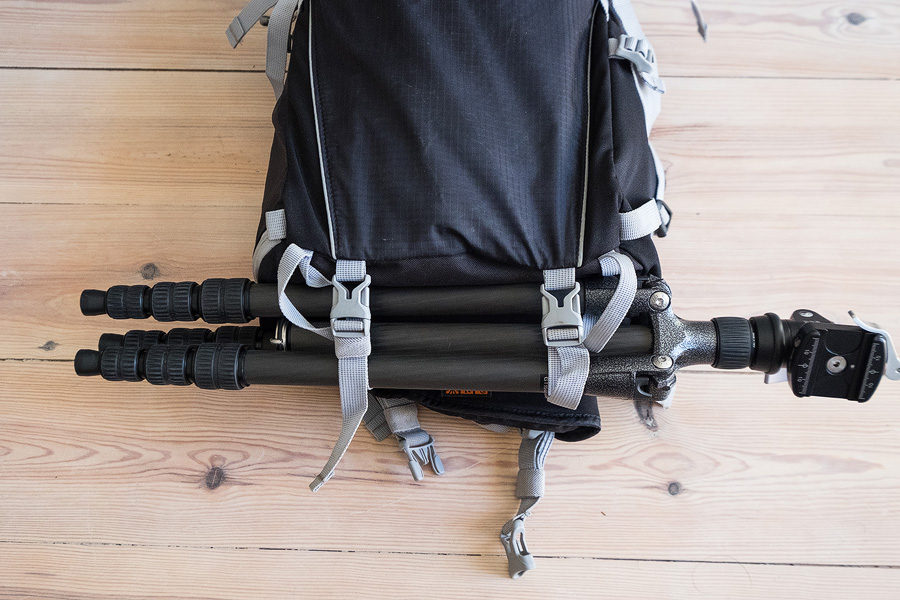 With a Gitzo 1 Series Traveller tripod stored in straps along bottom