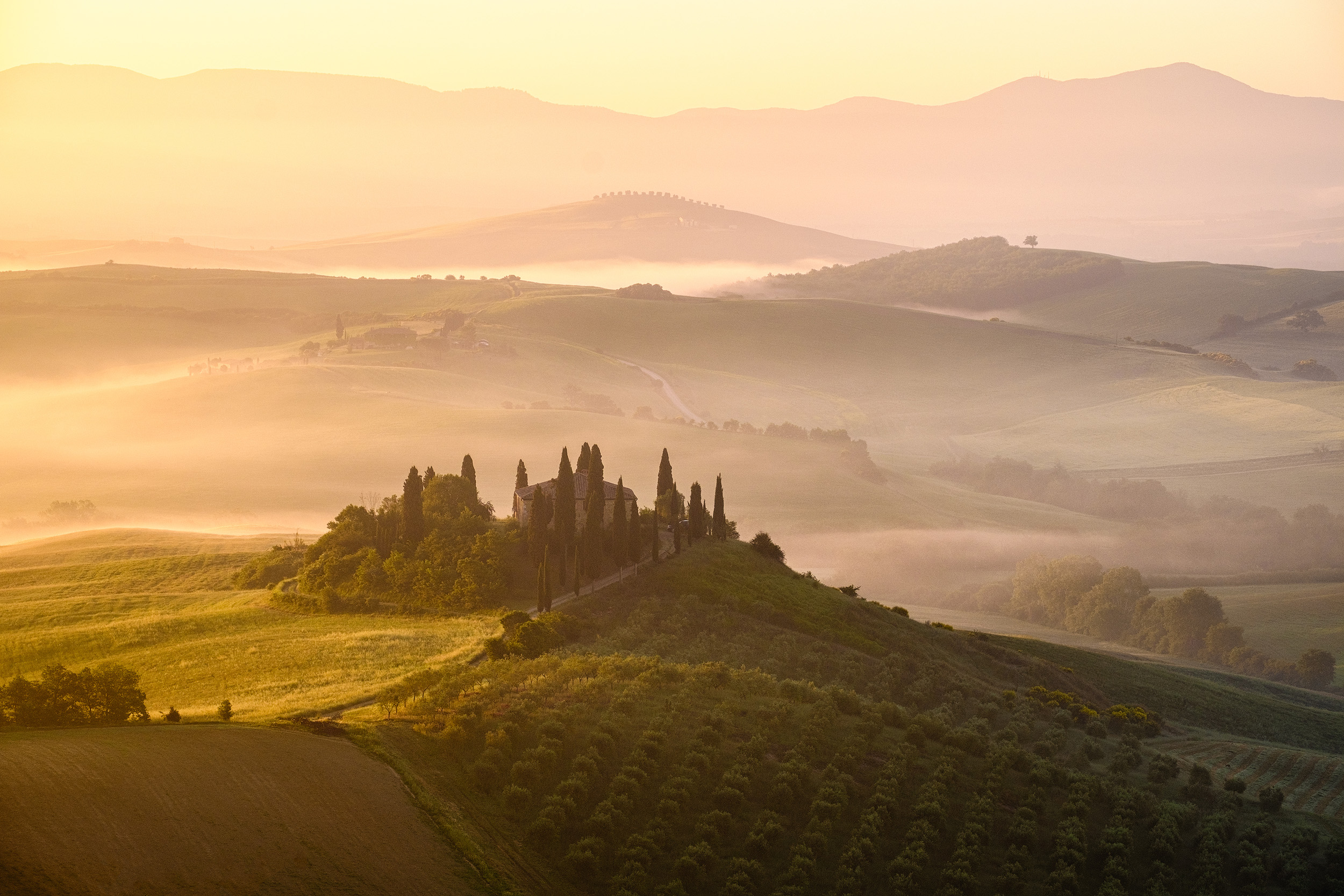 Belvedere   It's hard to get bored of the wonderful views in Tuscany's Val d'Orcia in the morning, even one as iconic as Belvedere farmhouse.
