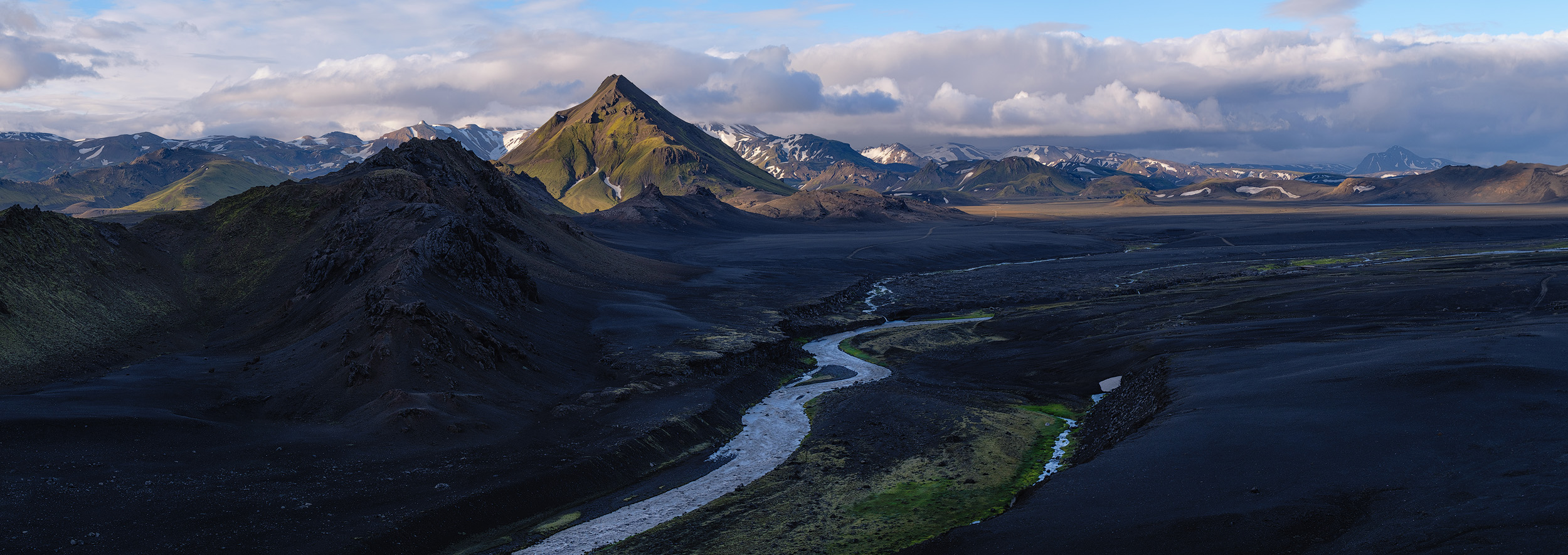 Storasula  Late light above the peak of Storasula from a ridge in the Emstrur area of Iceland's southern Highlands