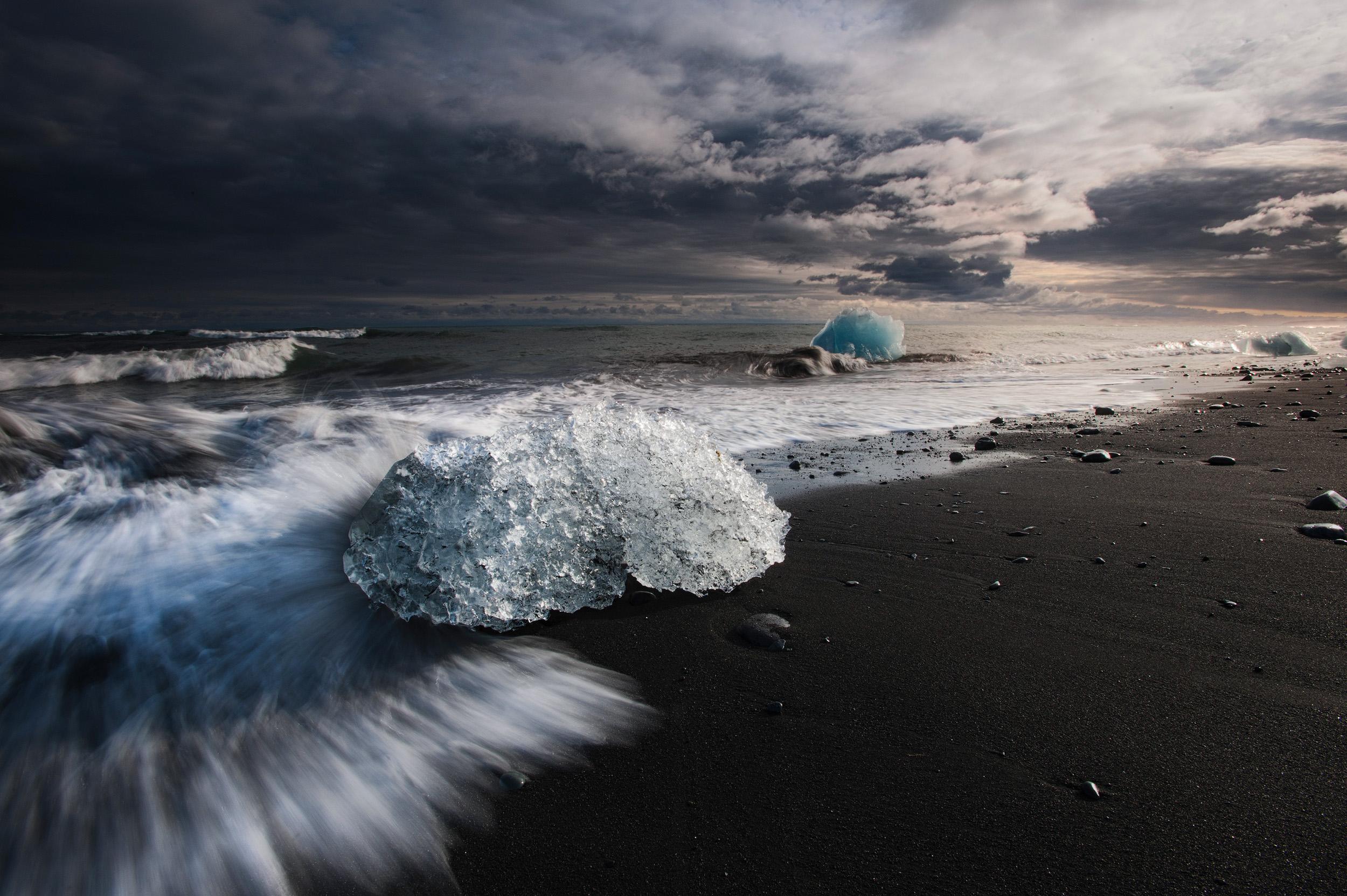 Jokulsarlon Beach  The black sand beach and it's iconic icebergs at Jokulsarlon in south east Iceland