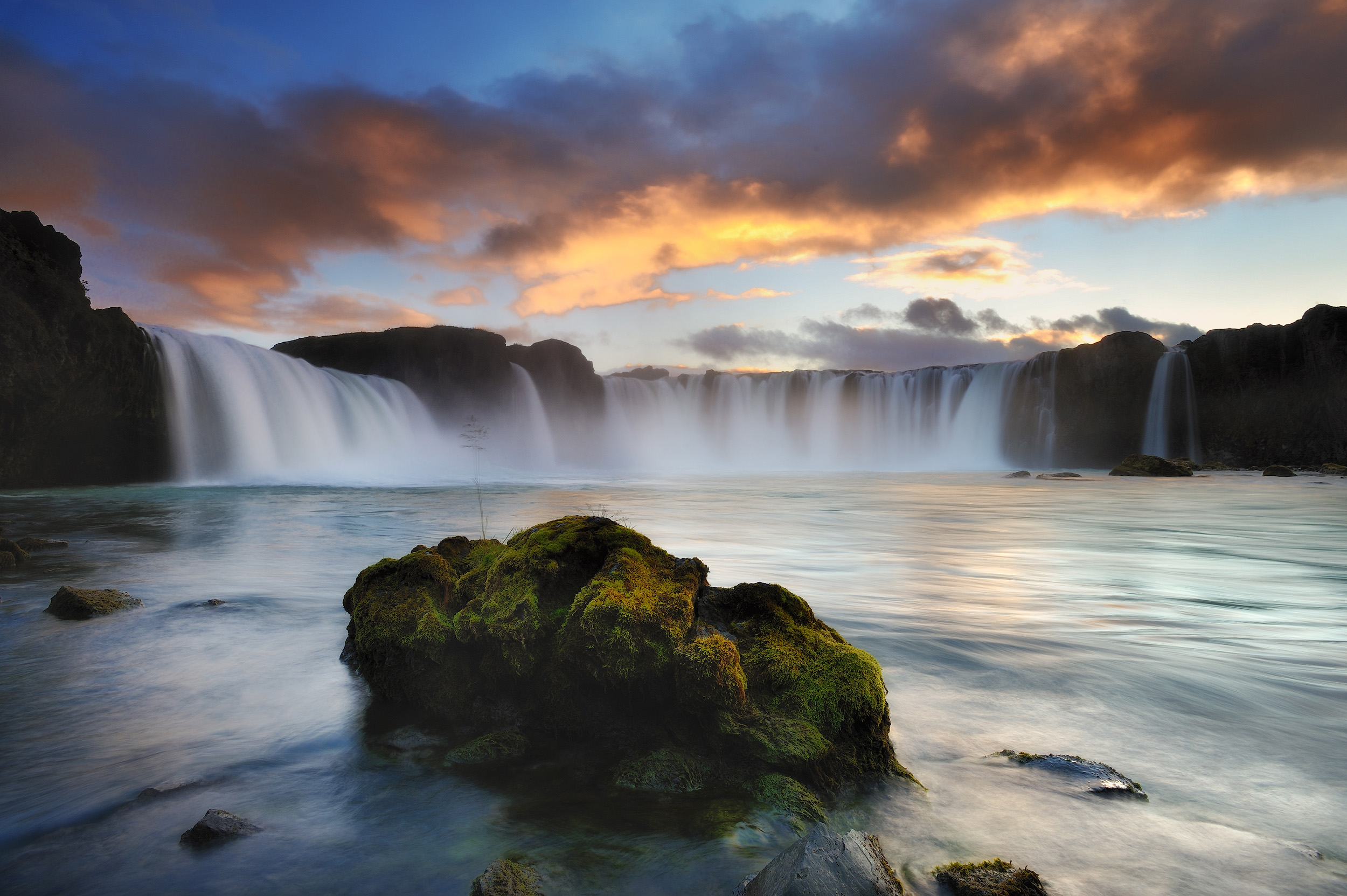 Godafoss  The waterfalls at Godafoss in northern Iceland at sunset.