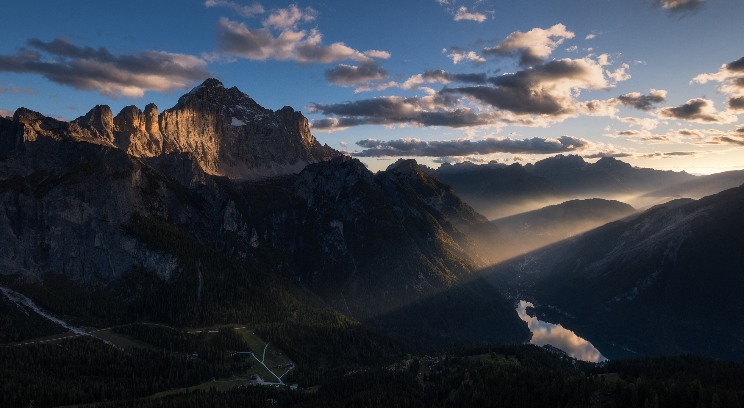 Civetta   The sun's last light on the peak of Mount Civetta in the Dolomite mountains, Italy
