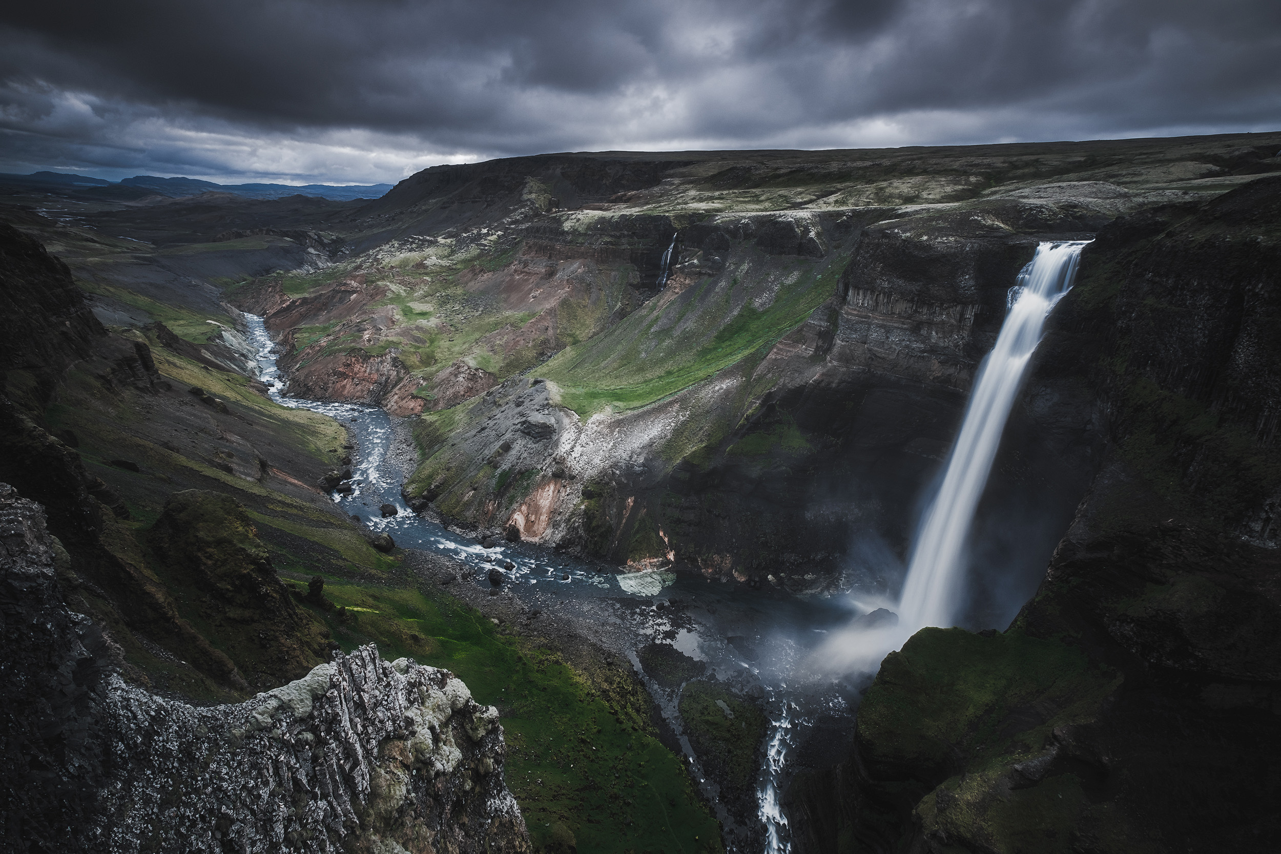 Haifoss  The falls at Haifoss tumble 150m into the canyon below in Iceland's highlands