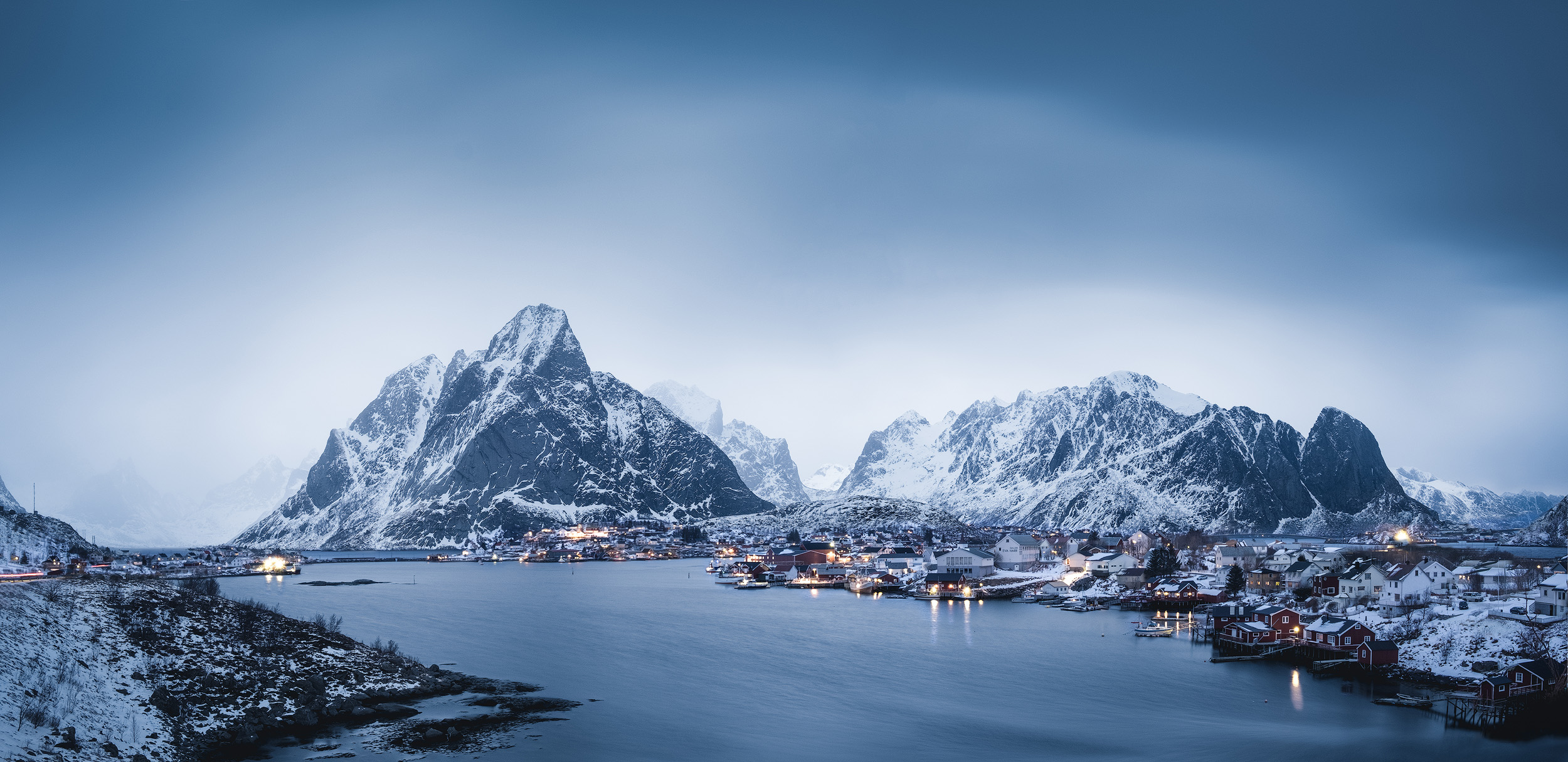 Reine Harbour   The harbour at Reine in Norway's Lofoten Islands in a blue hour snow storm,