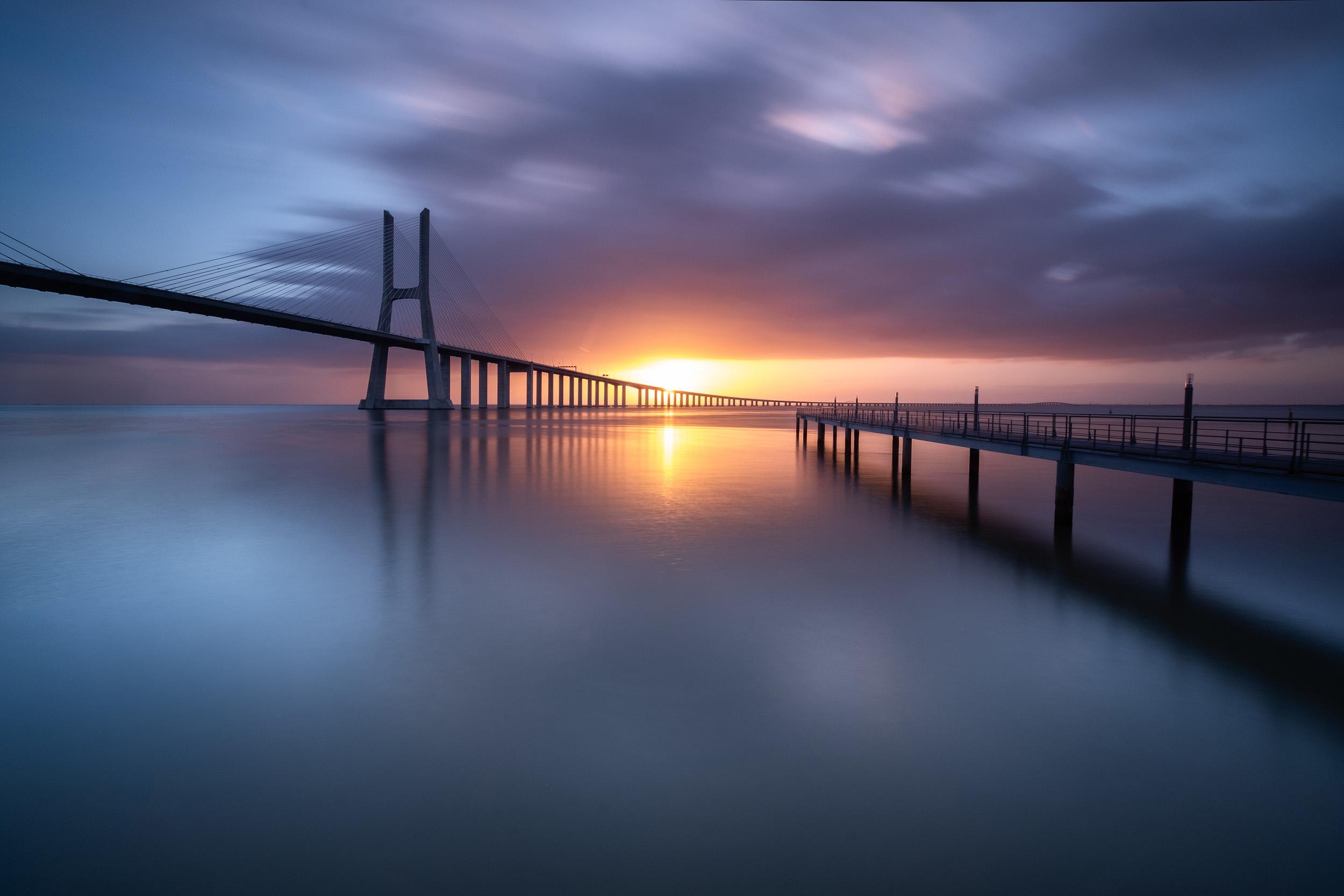 Vasco da Gama Dawn   The first light of morning at Vasco da Gama bridge in Lisbon, Portugal