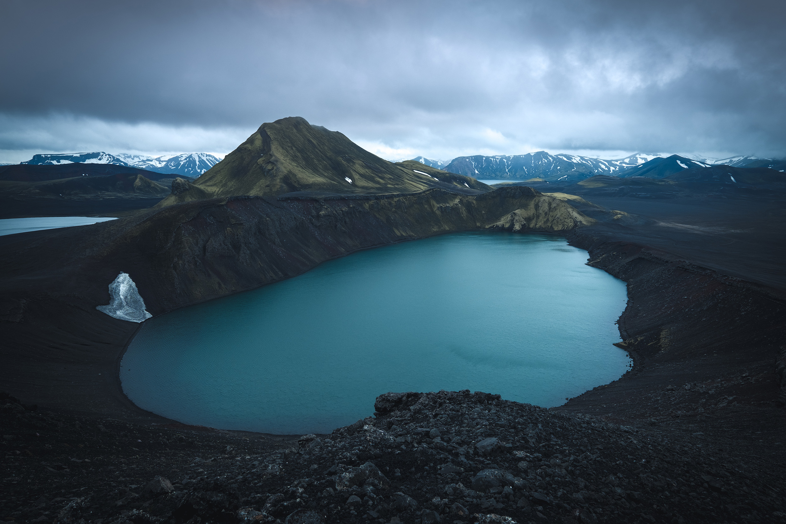 Hnausapollur Crater  The incredible blue water of the Hnausapollur crater lake in the Iceland Higlands. I scrambled up here sometime before sunrise on the recent Iceland workshop to get an elevated view of this awesome place. Photos can't really do justice to how big this lake is, nor how high up were to shoot it.