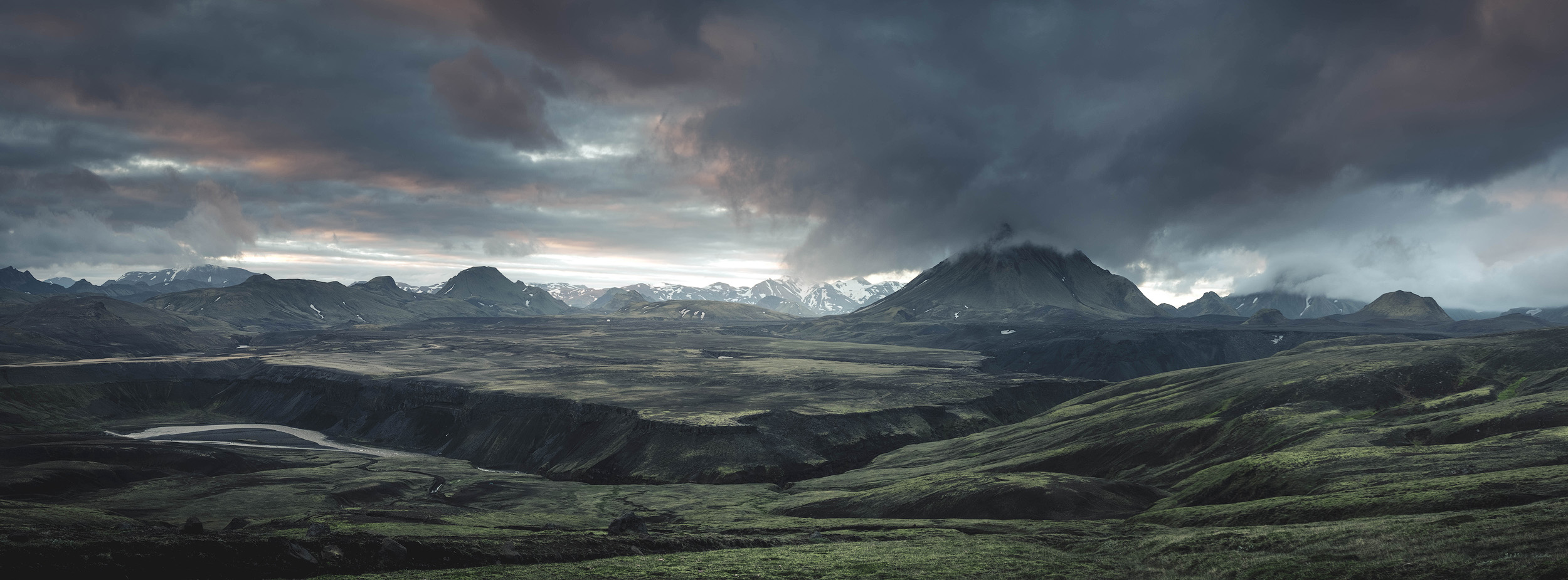 A panorama of the peaks around Hatfell in the southern part of the Highlands