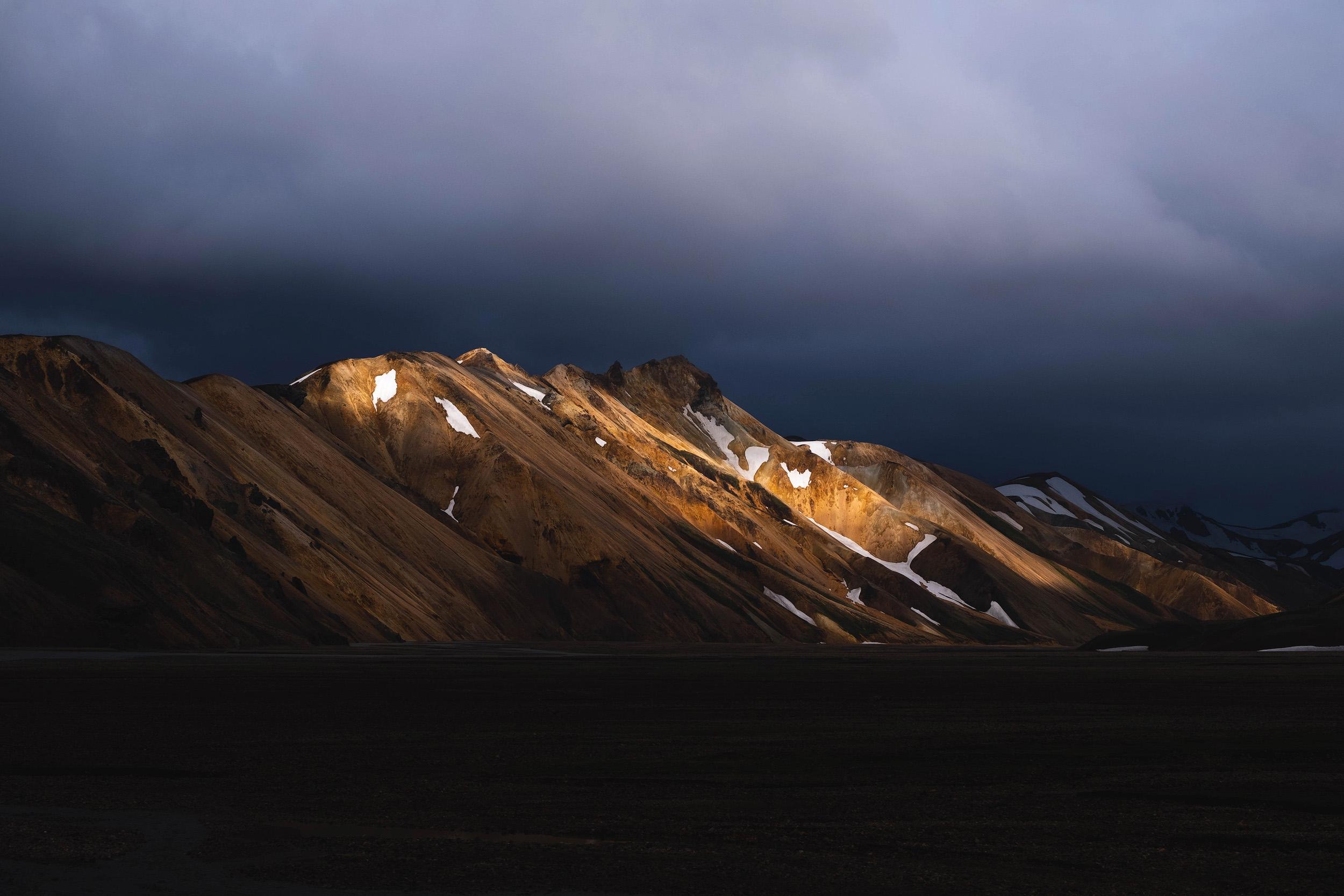 The last light of day on the rhyolite hills of Landmannalaugar