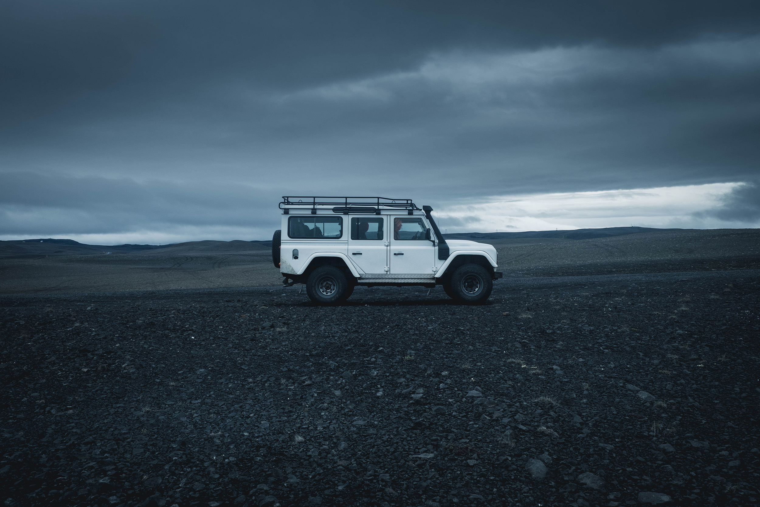 Our trusty Land Rover Defender. The best way to travel in the Highlands