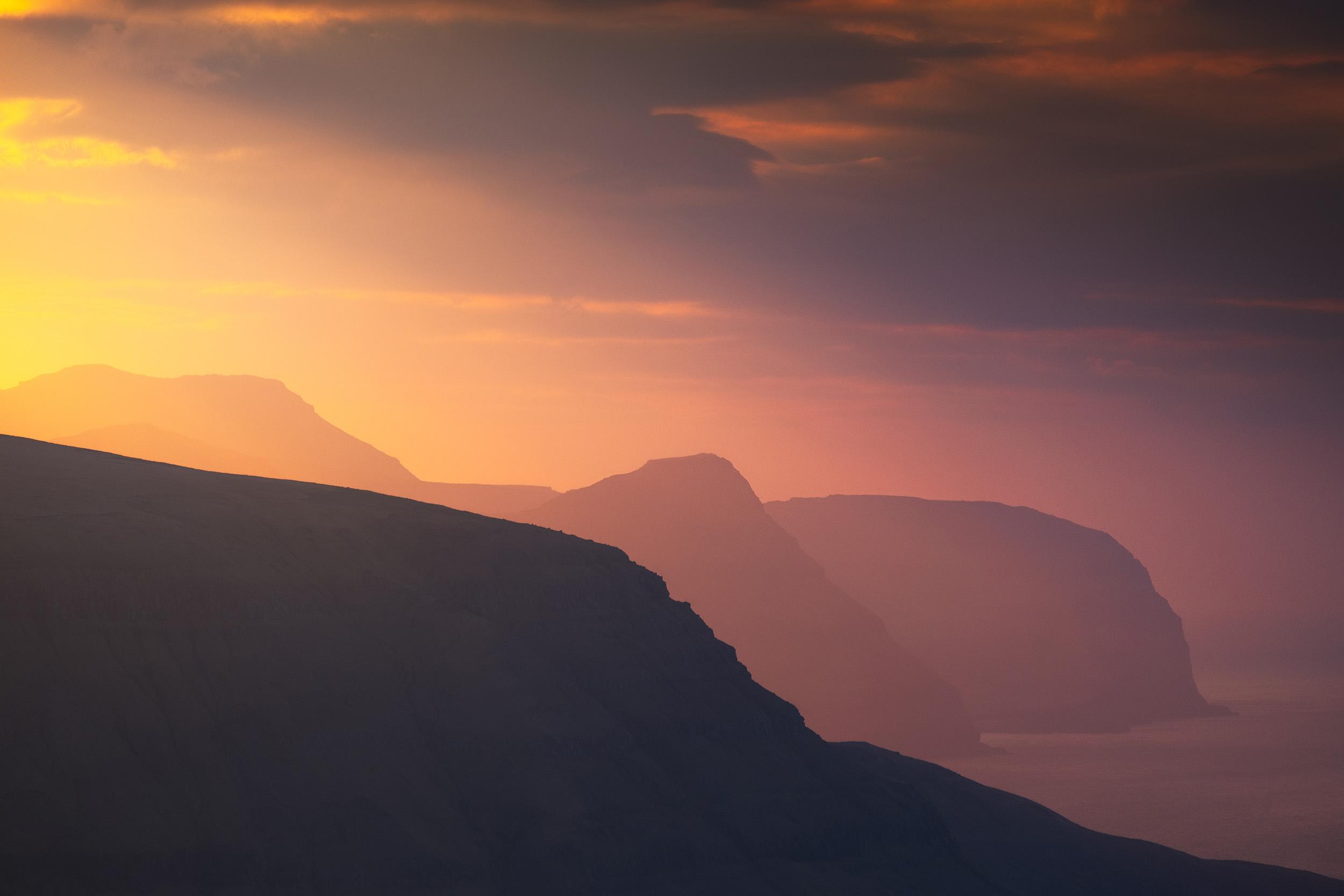 Klakkur Sunset   The last light of day above the Faroe Islands from the peak of Klakkur on Bordoy.