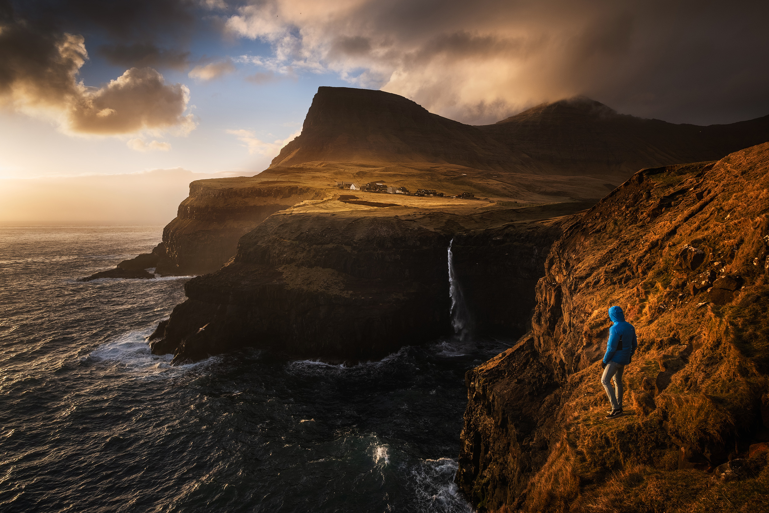 Gásadalur   The beautiful village of Gásadalur in the Faroe Islands at sunset-
