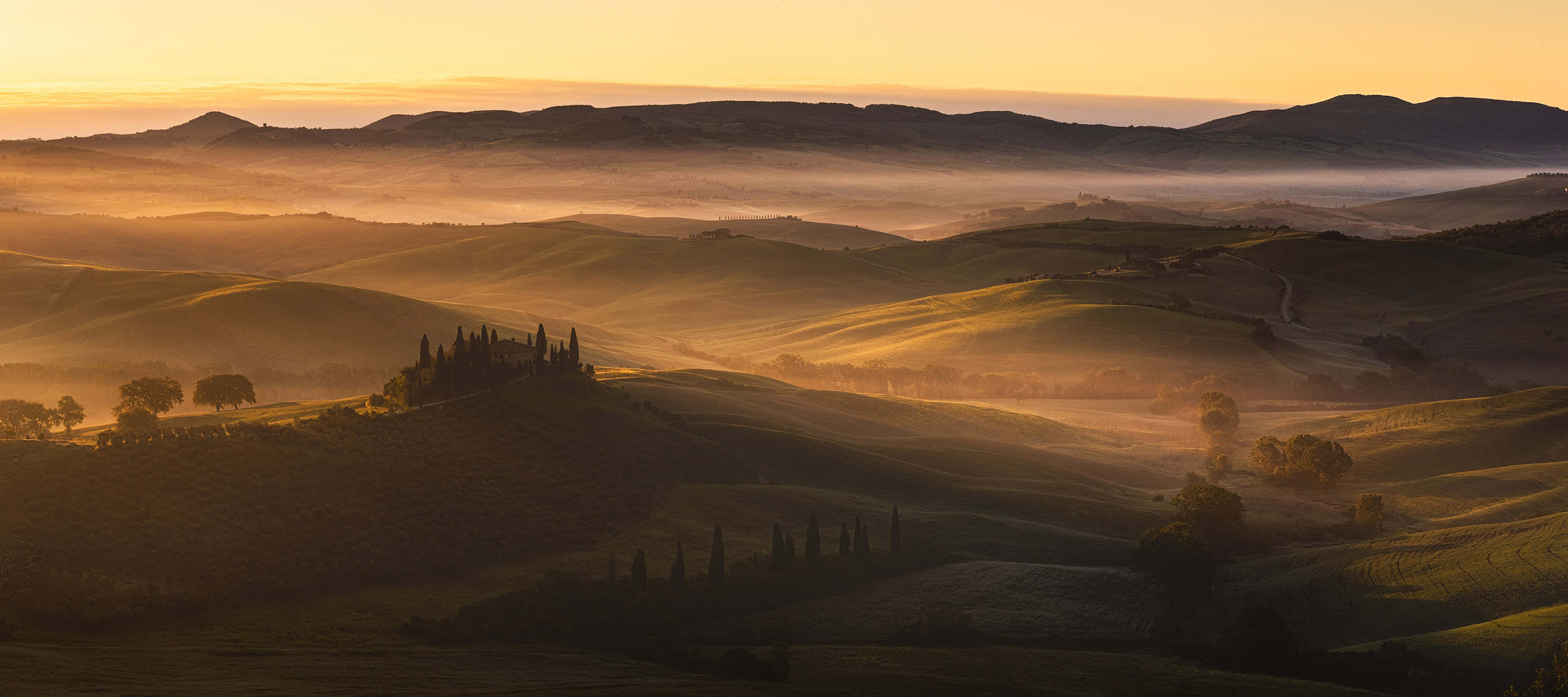 Val d'Orcia   The iconic farmhouse of Belvedere in San Quirico d'Orcia at dawn on a recent workshop in Tuscany