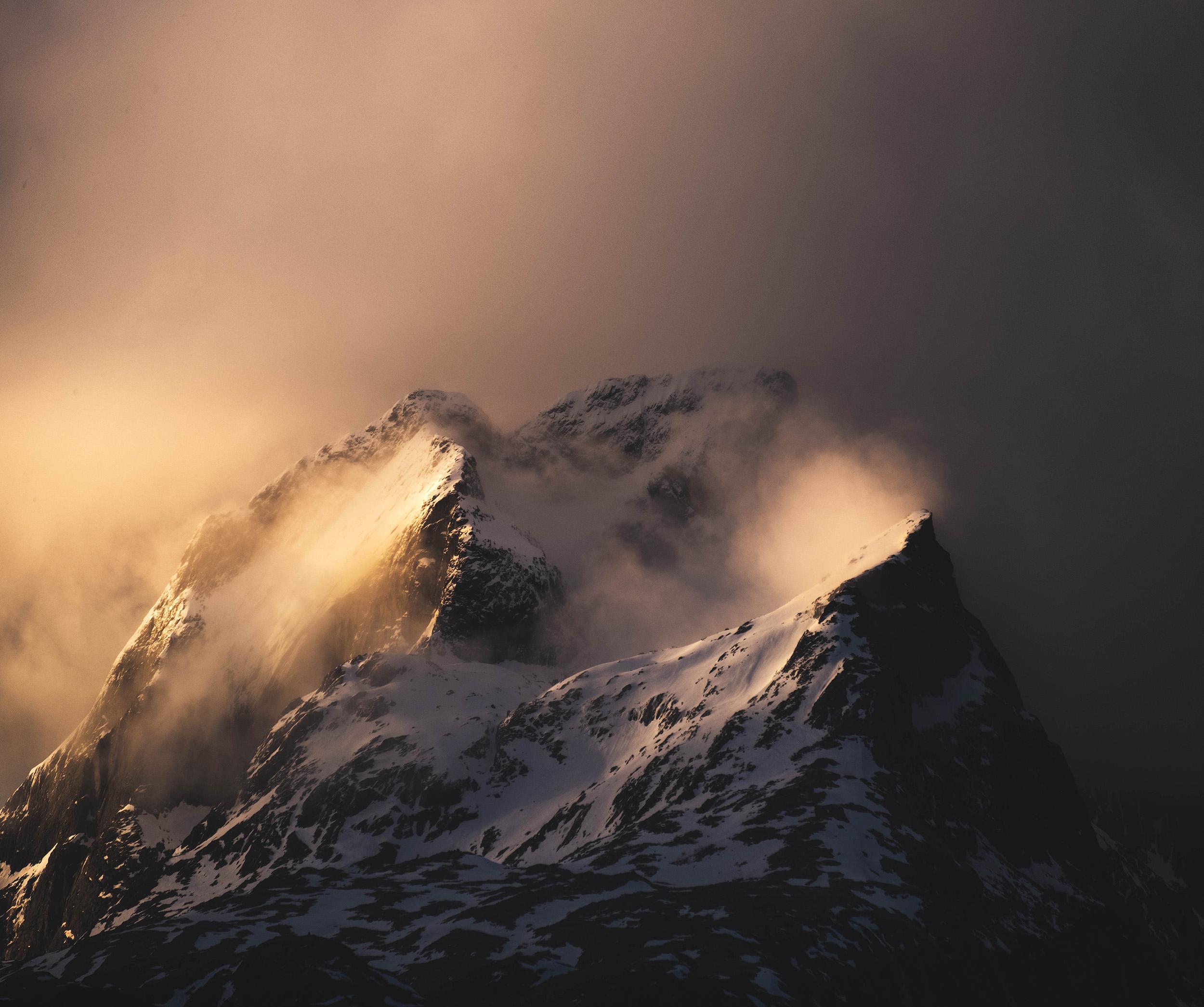 Mountain Light   Dynamic light at sunrise paints the peaks golden in the Lofoten Islands