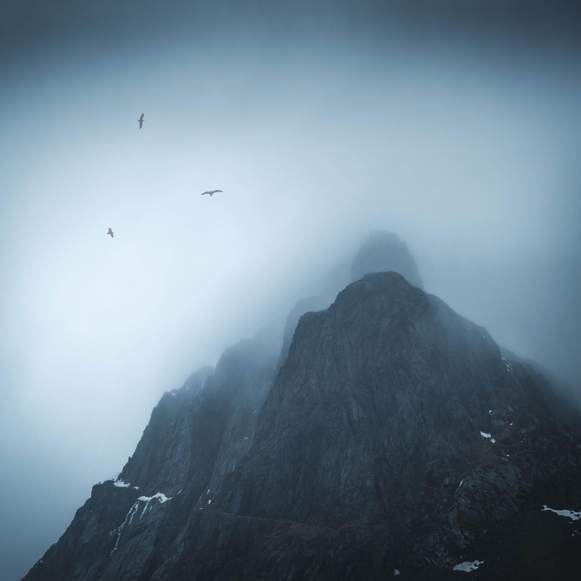 Lofoten Mountains   Low lying cloud surrounds the granite peaks in the Lofoten Island