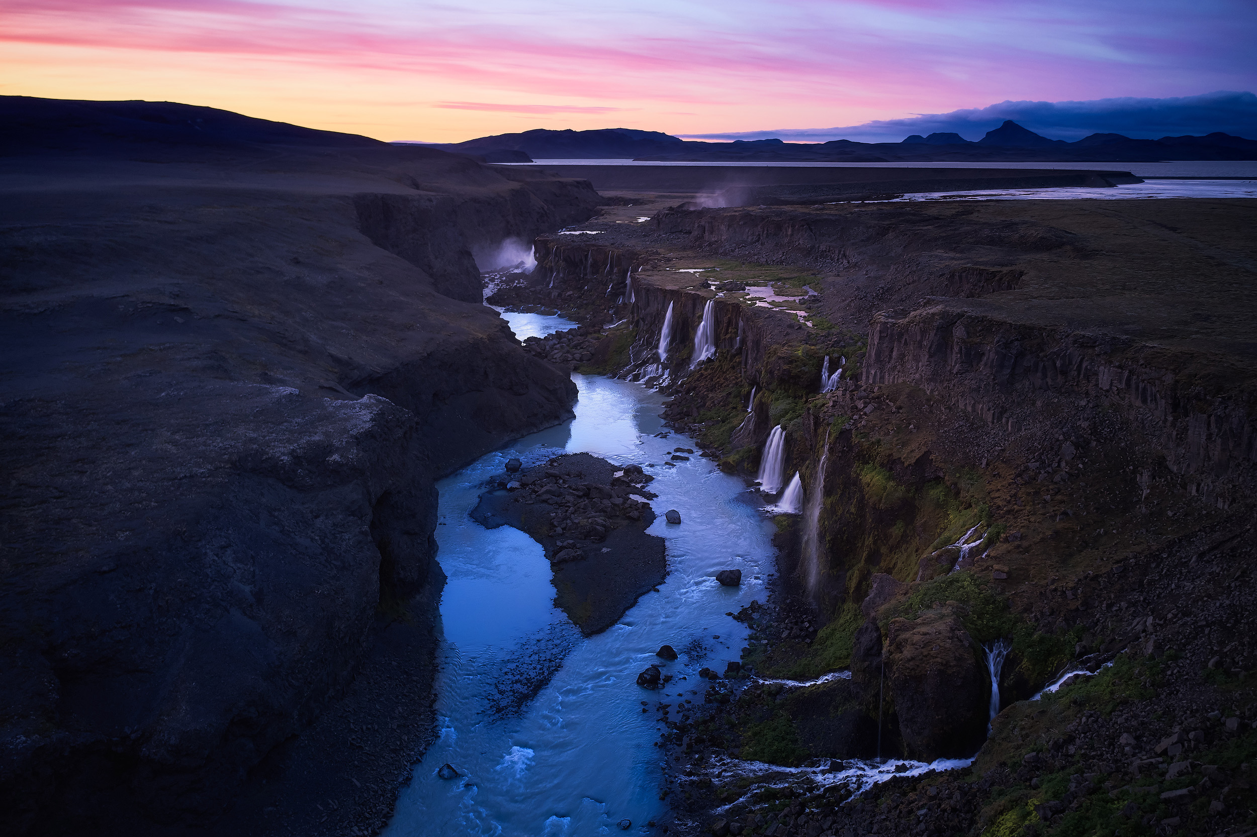 The multiple waterfalls of Sigöldugljufur, captured with a drone.