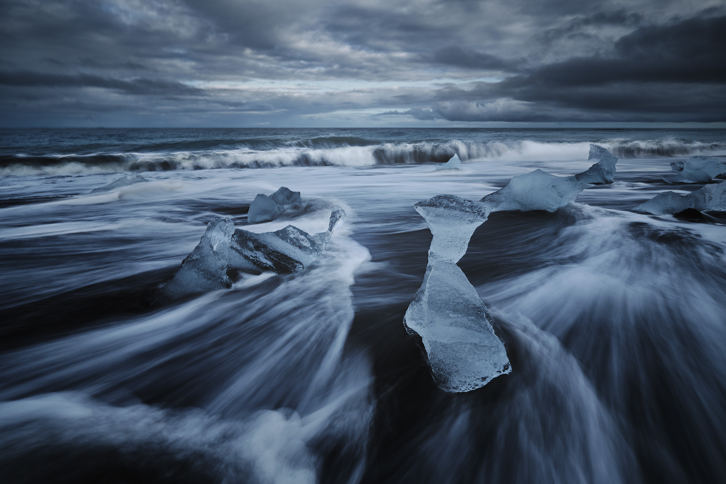 Icebergs washed up on the black sand beach of Breiðamerkursandur.  Below are captures from Stokksnes, on Iceland's south eastern tip.