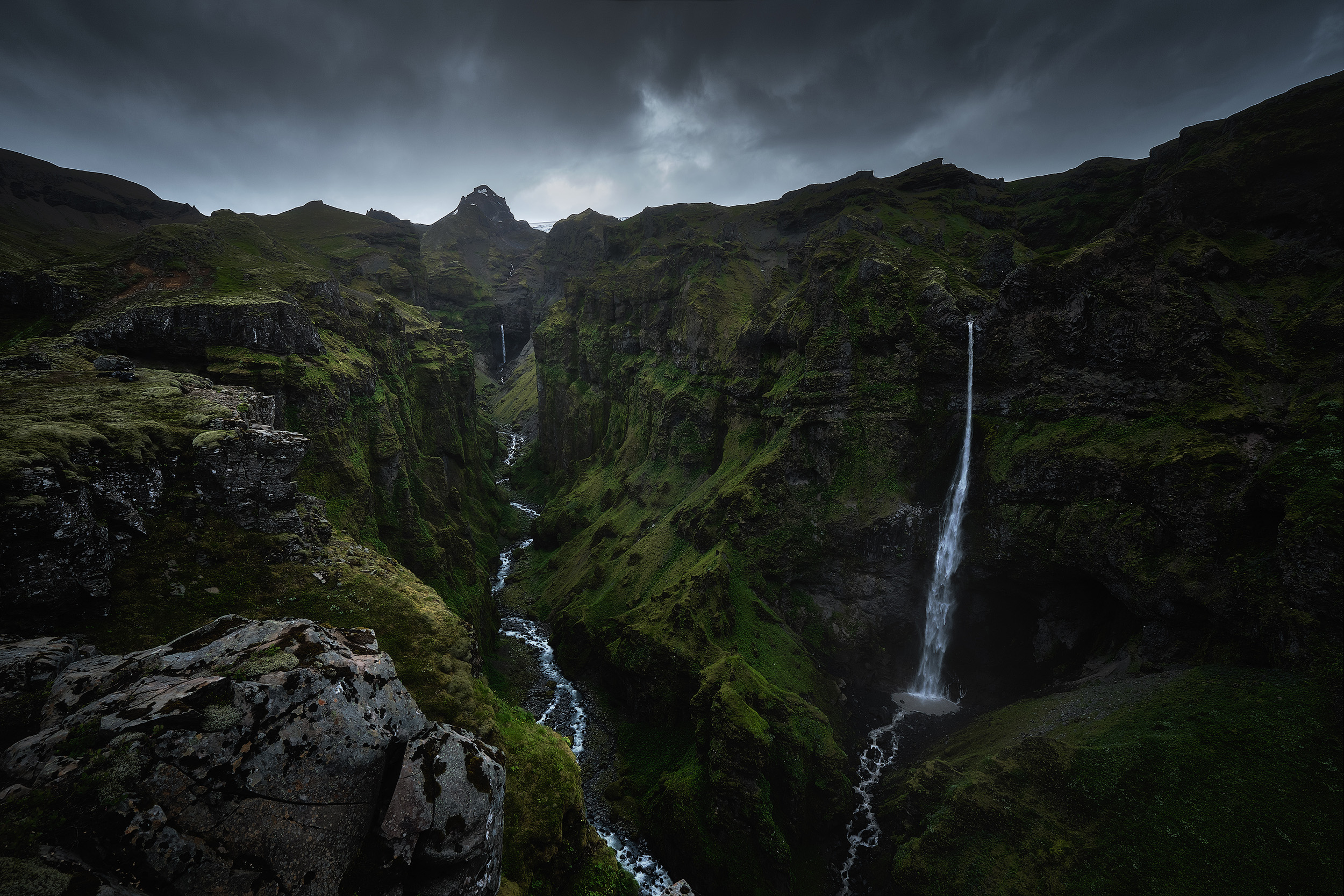 The Hidden Valley   These waterfalls run off the glaciers that dominate Iceland centre and south creating landscapes that feel as though you've travelled back in time millions of years. On my last Iceland workshop we made an effort to get out to some less well known locations that we hadn't visited before and discovered this incredible scene.