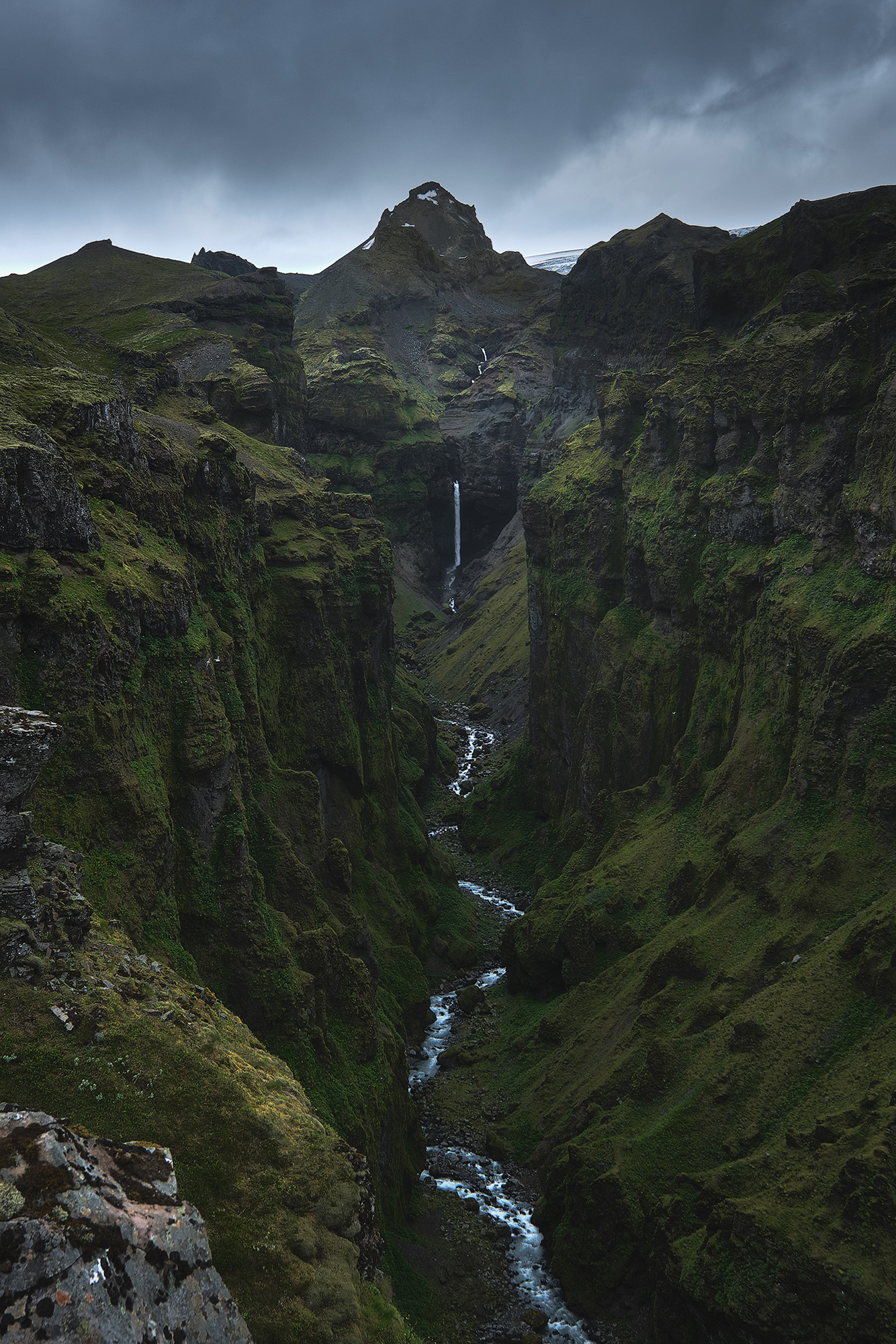 The Canyon   A telephoto view of one of Iceland's most incredible canyons showing the fantastic natural symmetry of the place scene.