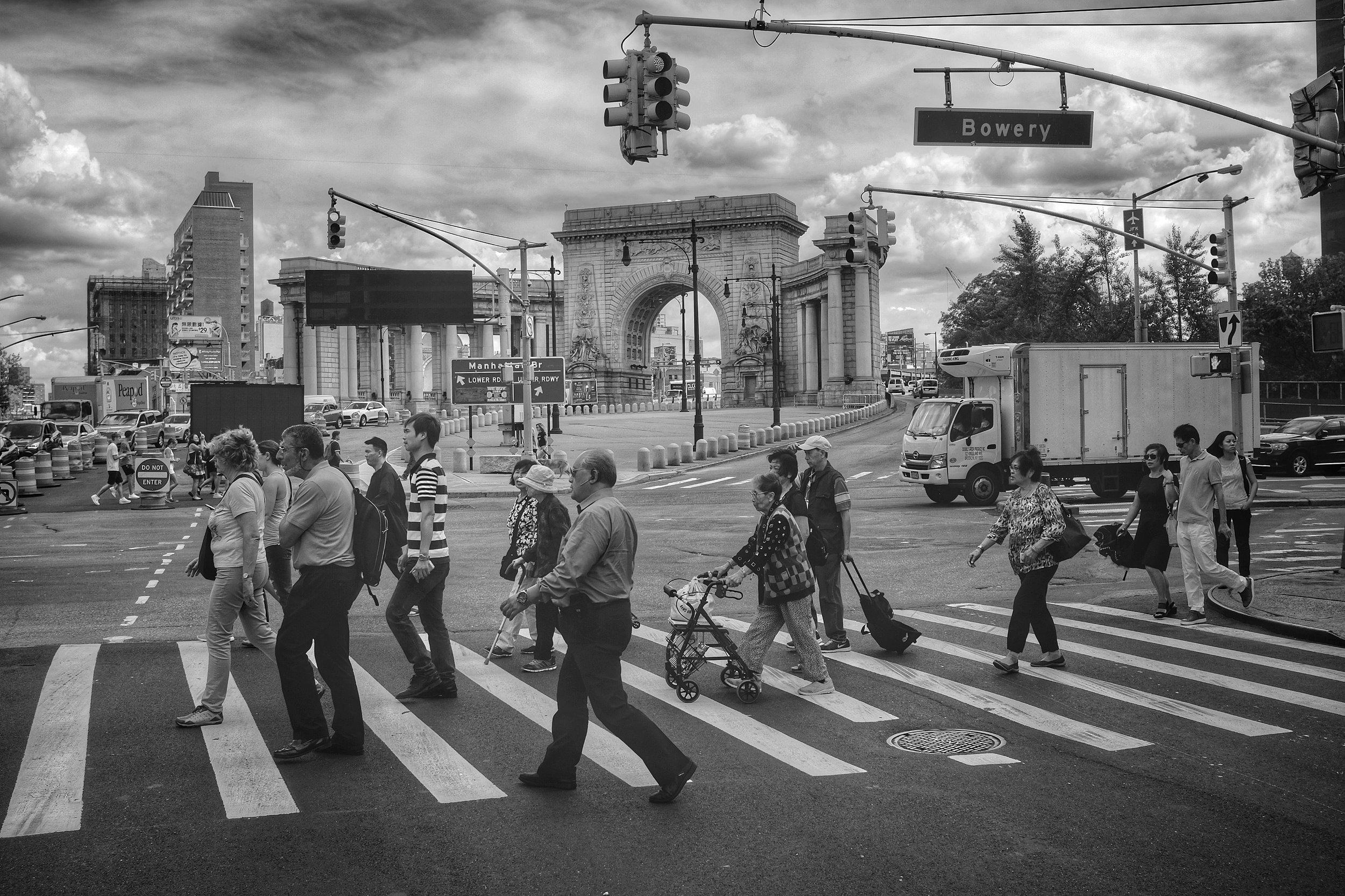 Canal Street and Bowery. Manhattan Bridge Entrance. Chinatown. New York City. 2016.
