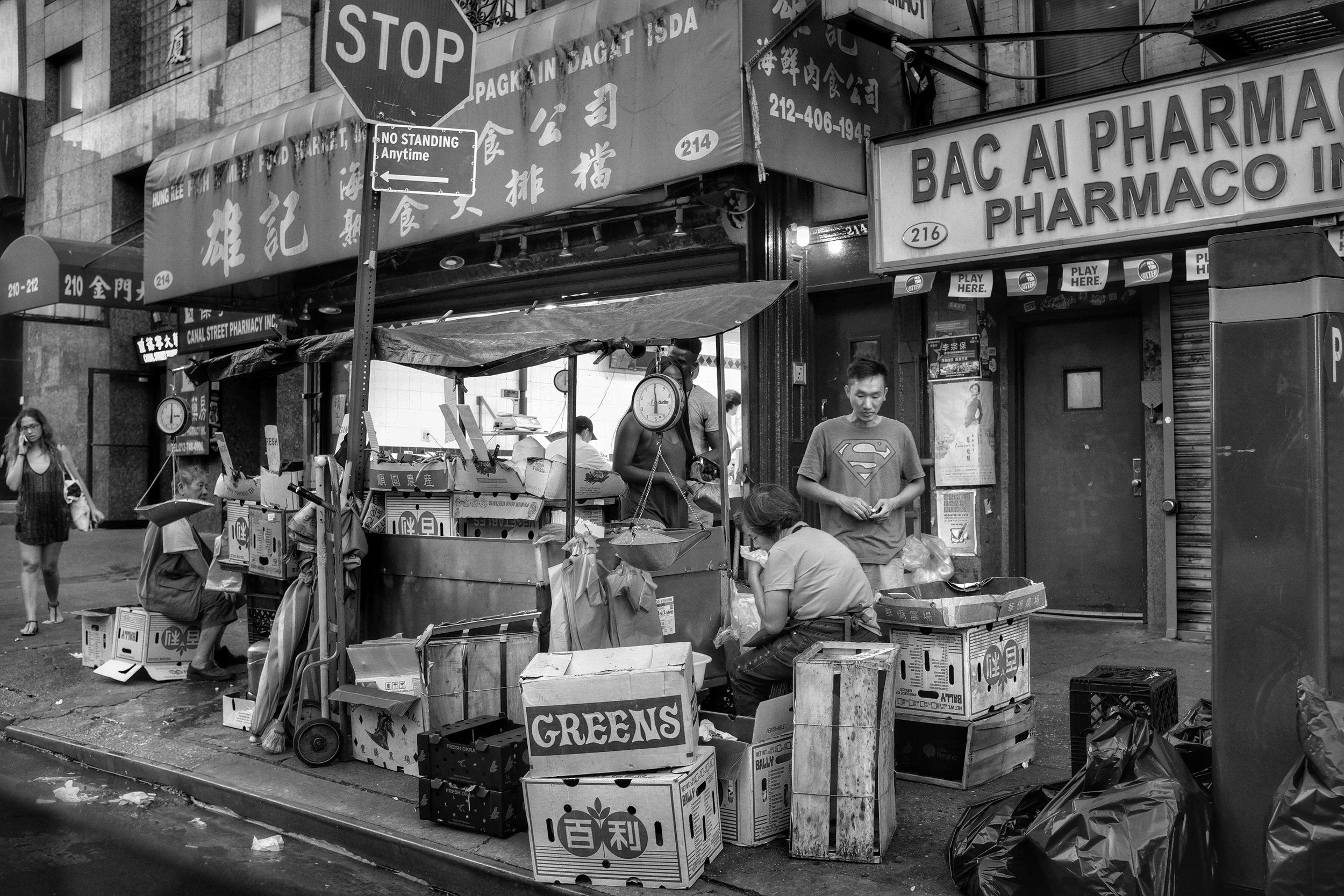 Greens. Canal Street. Chinatown. New York City. 2016.