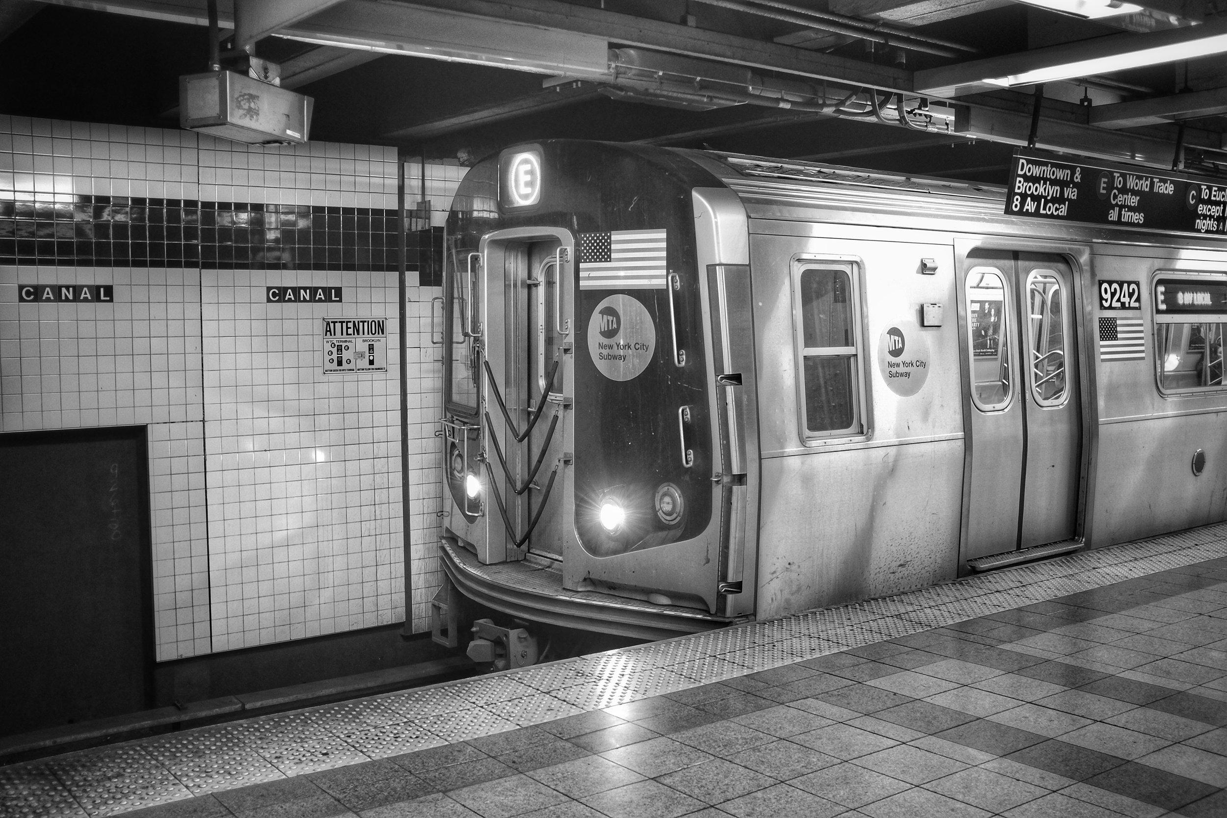 E Train. Canal Street Station. TriBeCa. New York City. 2016.