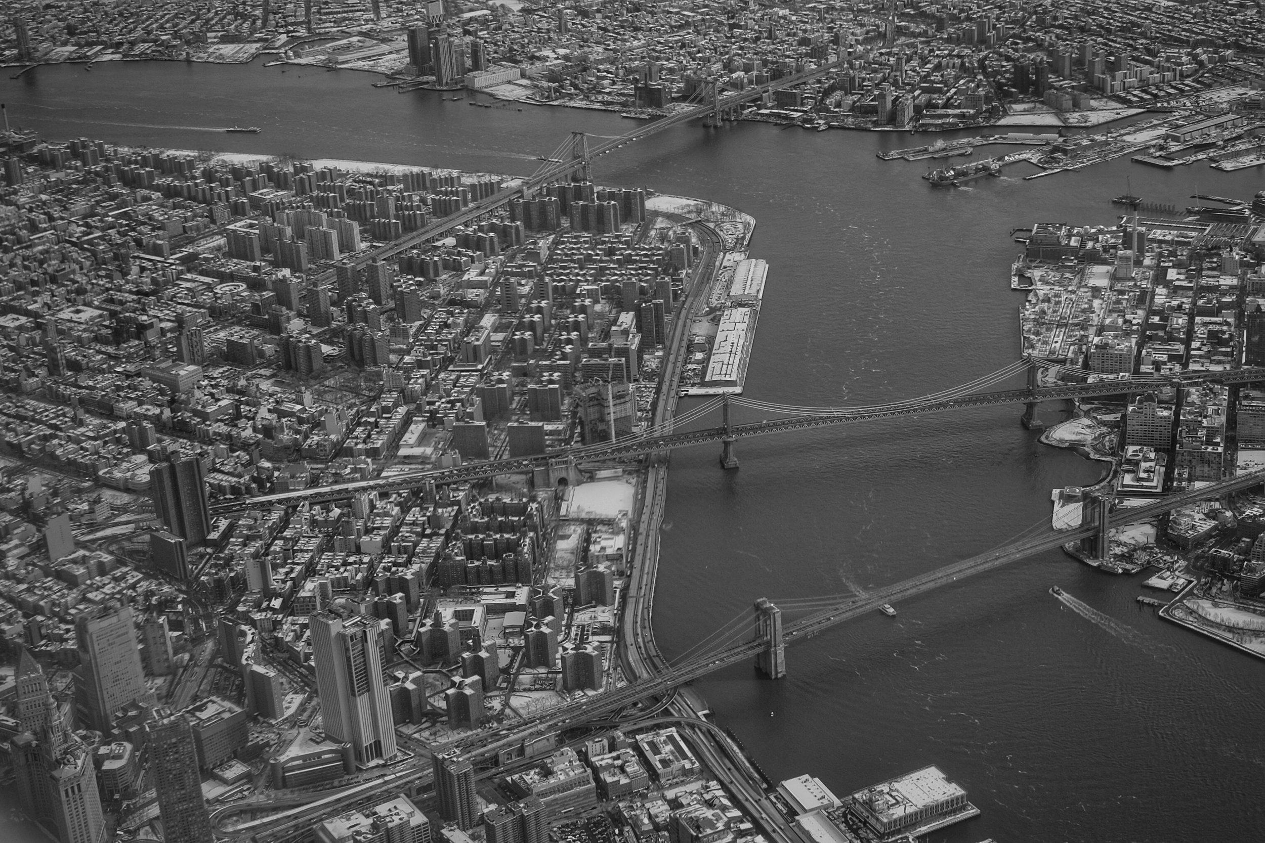 Williamsburg Bridge, Manhattan Bridge. Brooklyn Bridge. East River. New York City. 2016