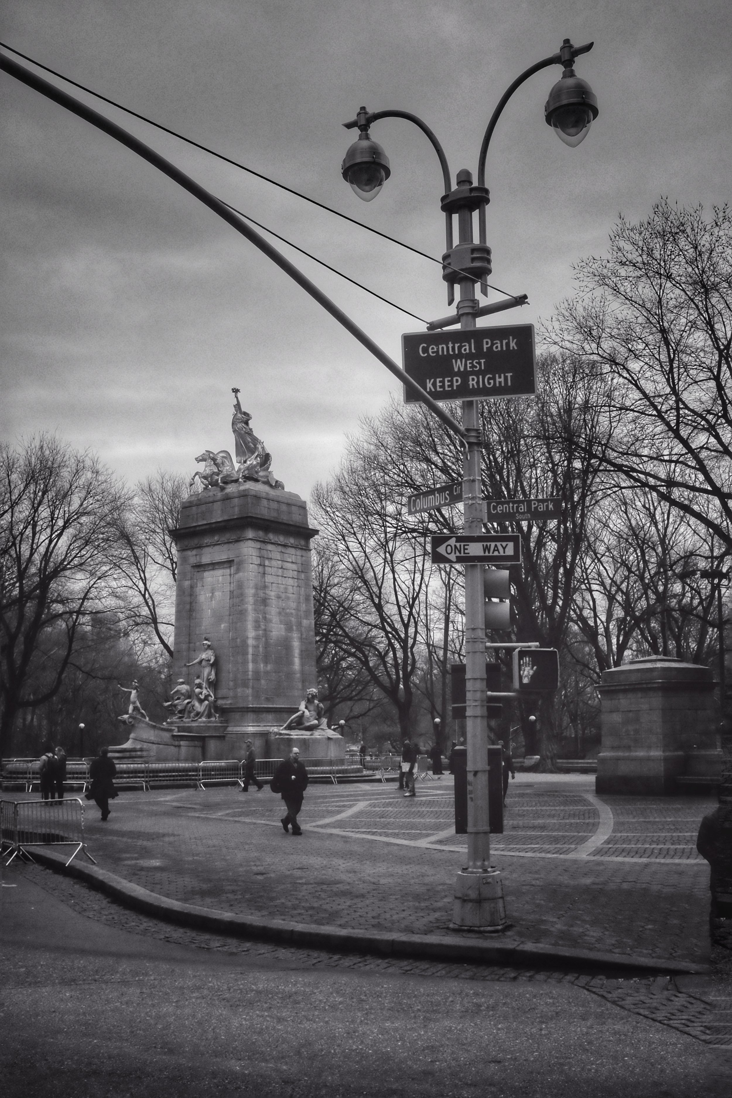 Central Park West and Columbus Circle New York City. 2017.