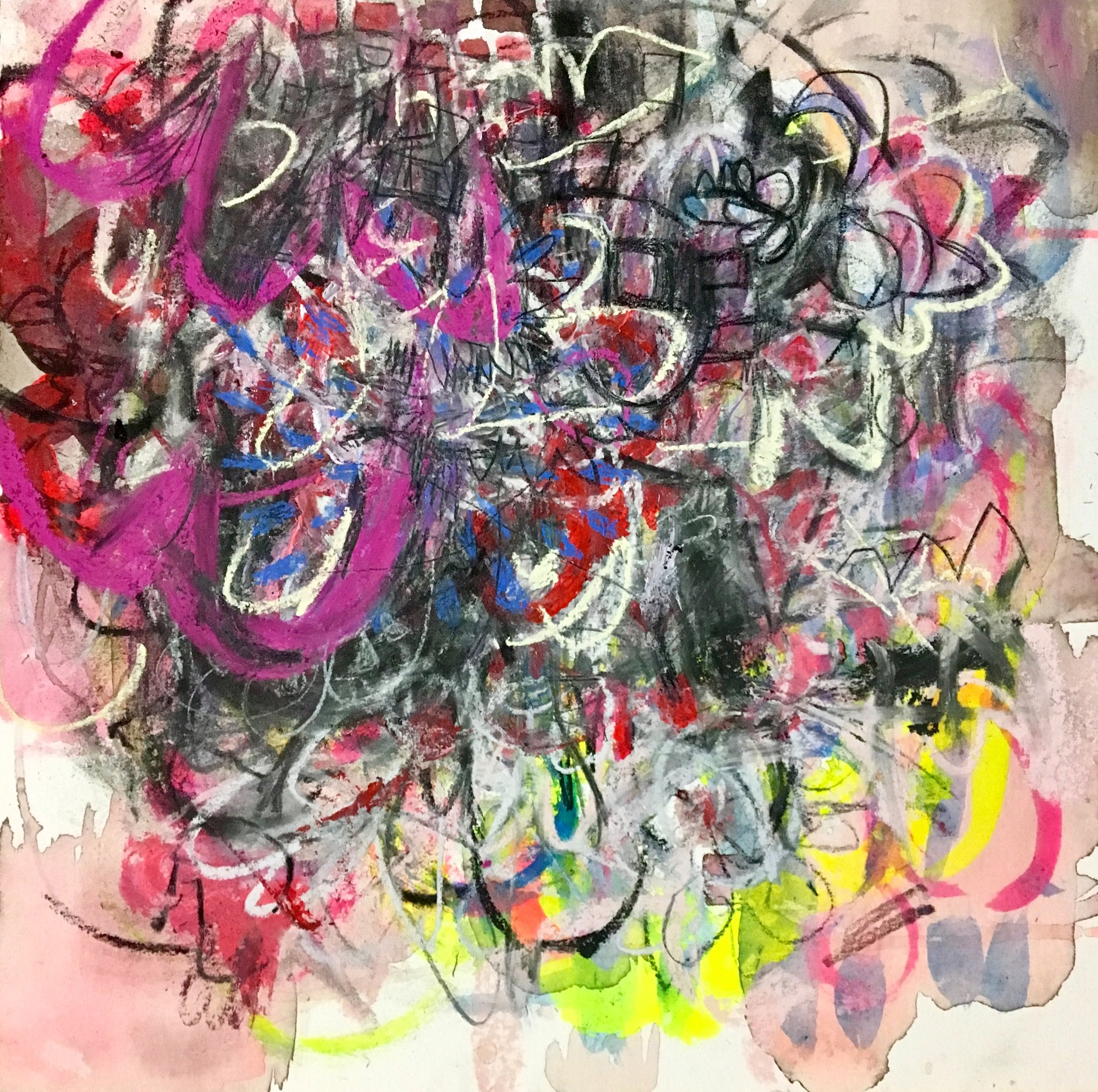 """Pink Grind 2  Mixed media on paper on panel  12""""x12"""""""