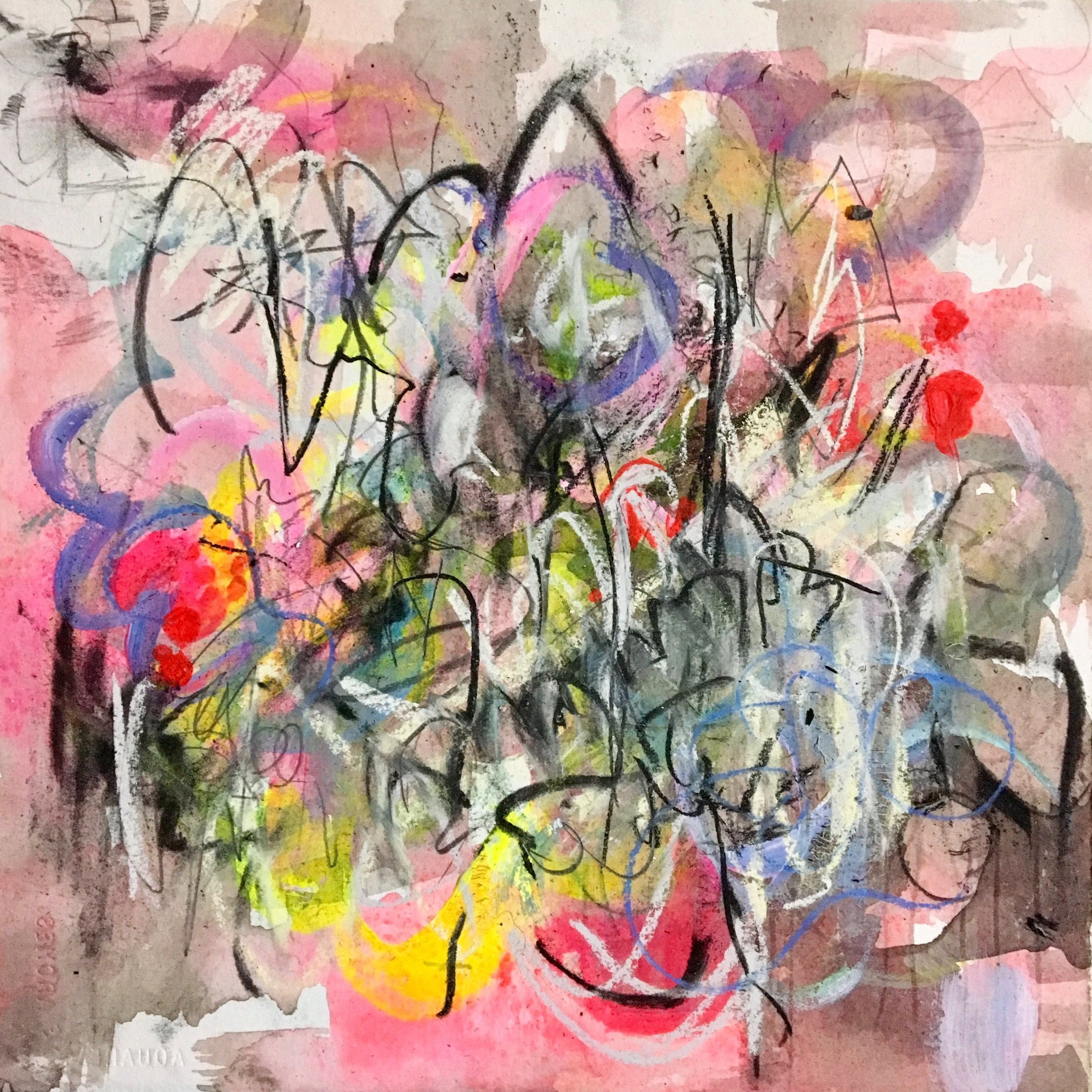 """Pink Grind 4  Mixed media on paper on panel  12""""x12"""""""