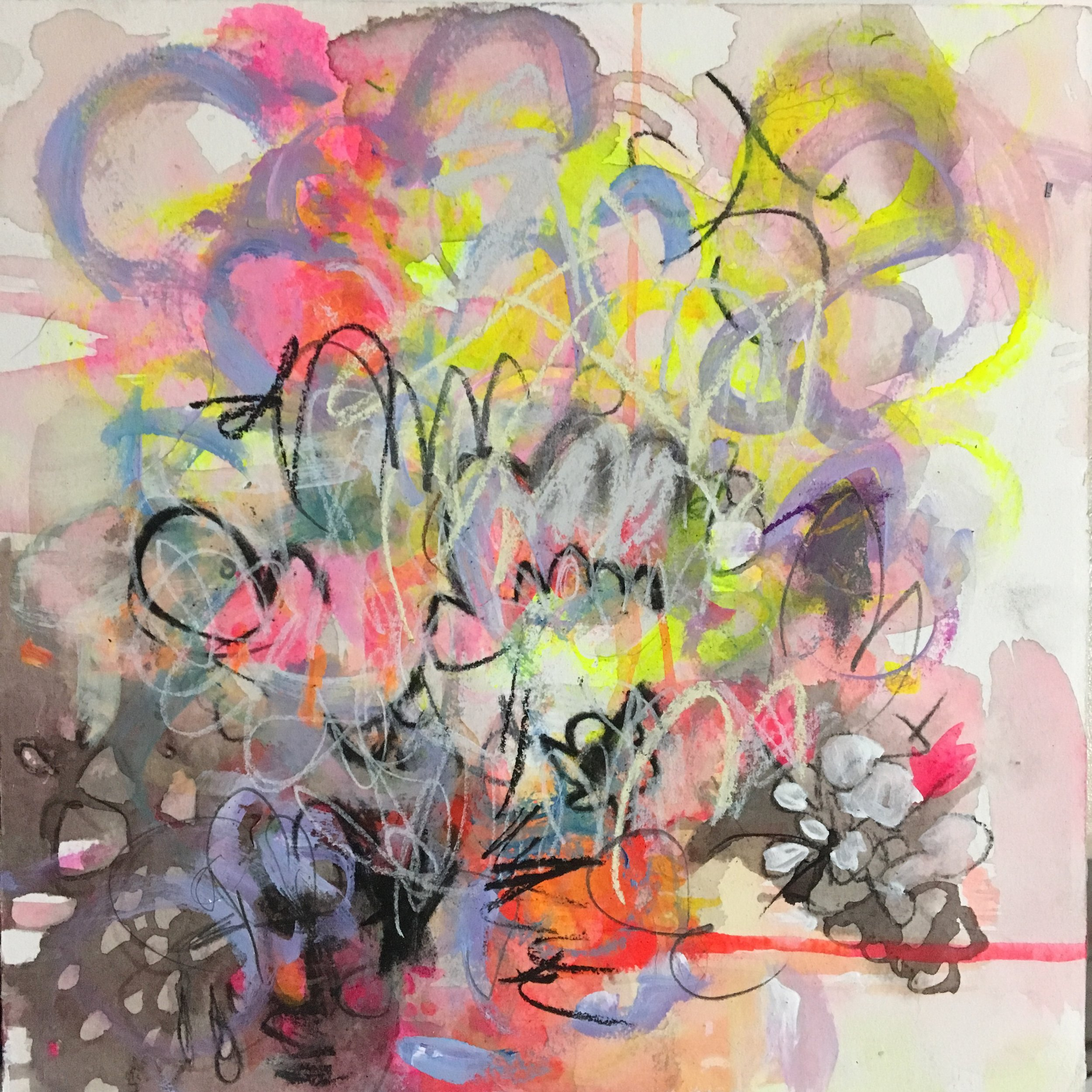 """Pink Grind 3  Mixed media on paper on panel  12""""x12"""""""