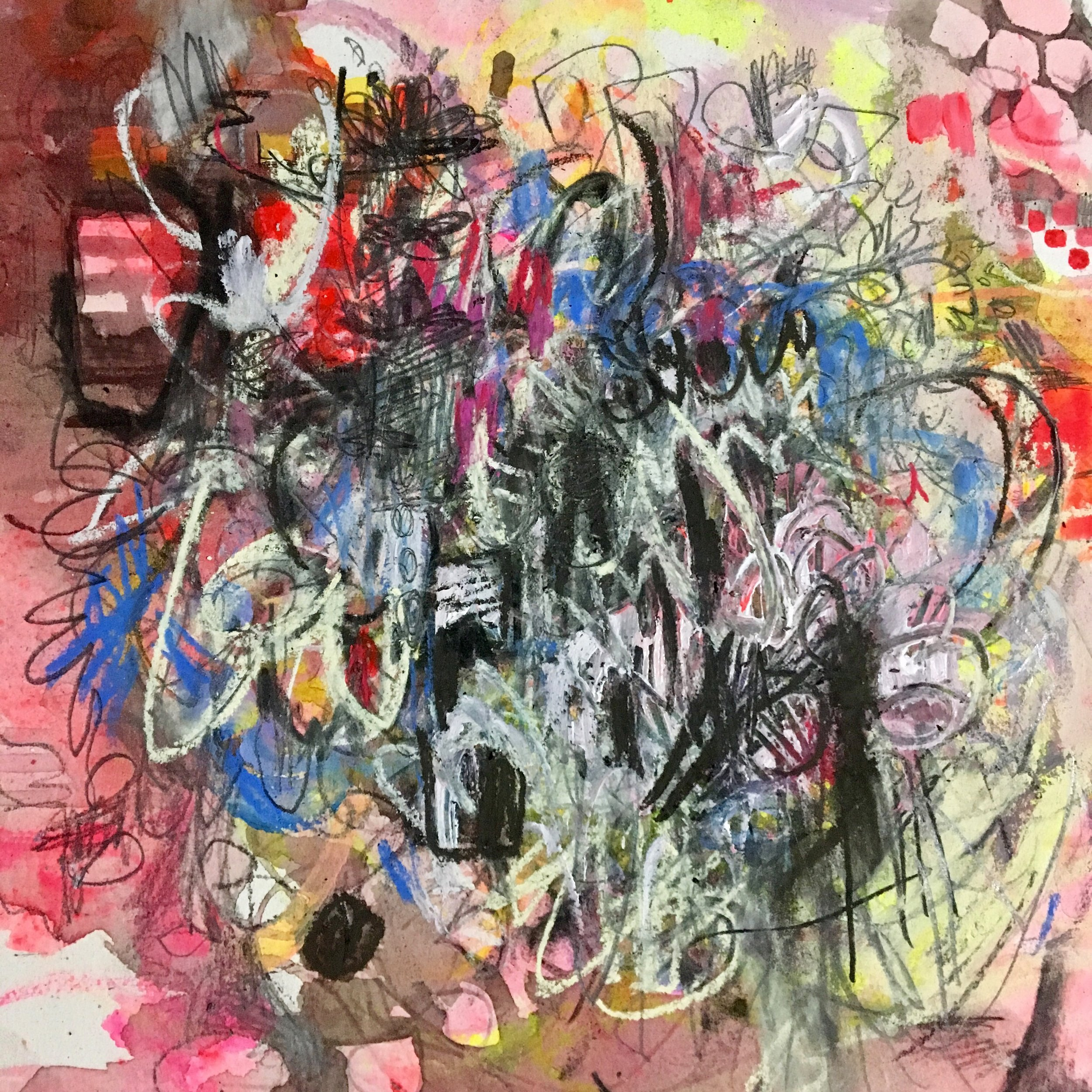 """Pink Grind  Mixed media on paper on panel  12""""x12"""""""