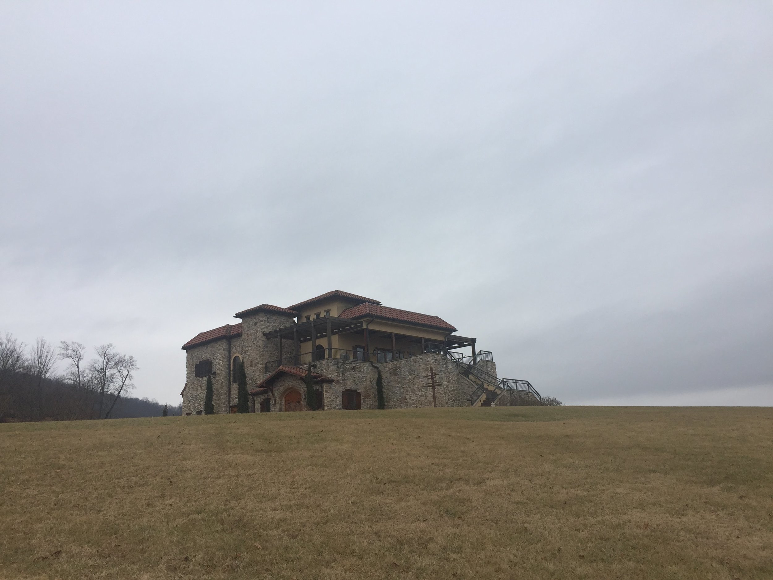 The tasting room perched on a hill. It was an overcast day, and this picture doesn't do it justice!!
