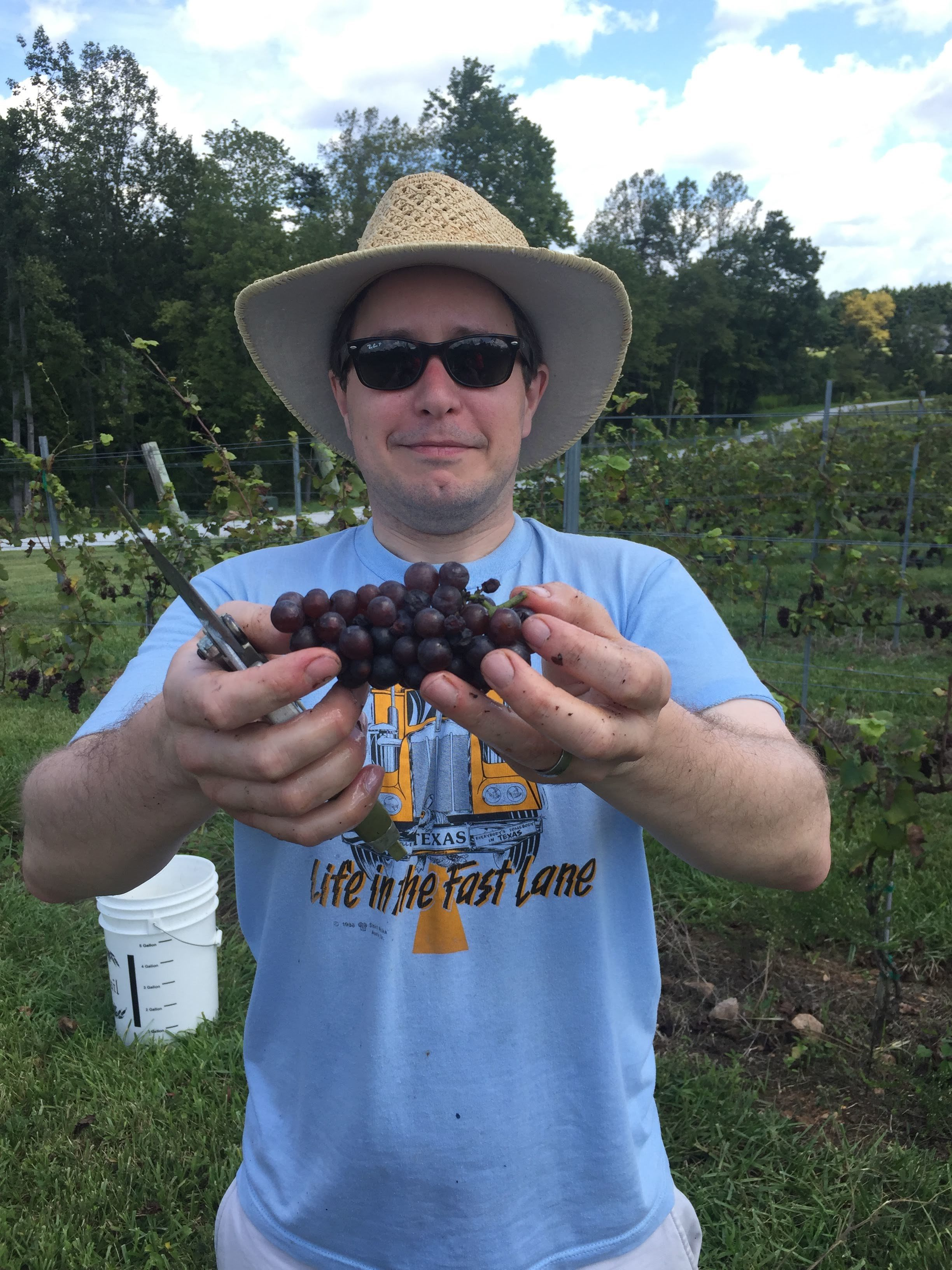 My husband with his prize Pinot Gris
