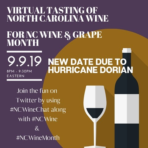 In case you didn't get the memo, September is North Carolina wine month! Join us on twitter Monday night as we taste some yummy #ncwine ! 🍷#ncwinemonth #ncwinechat