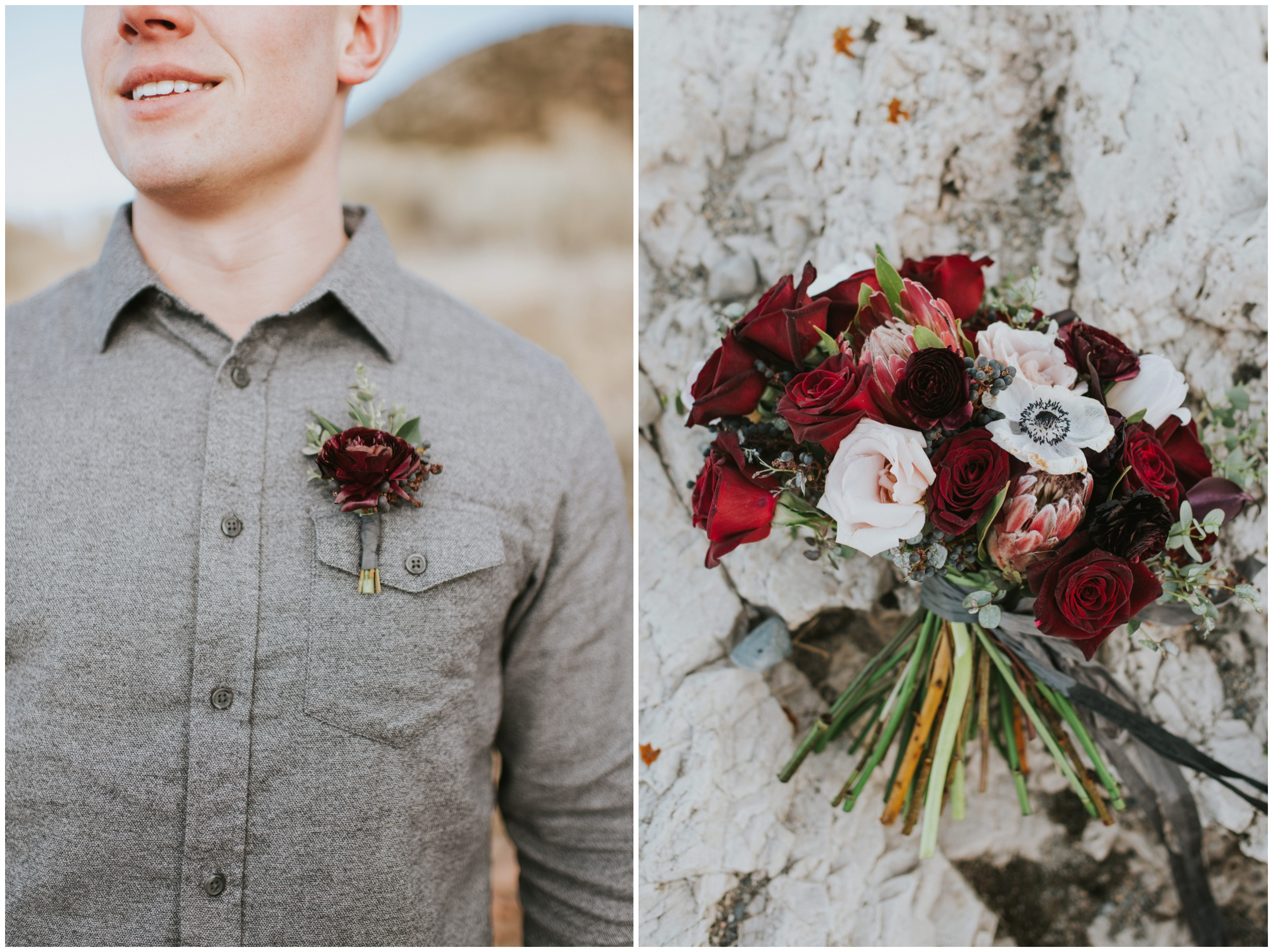 Detail shot of Grooms Boutonniere, gray shirt and brides bouquet with roses | Wedding Photographer Bear Lake Utah www.riversandroadsphotography.com