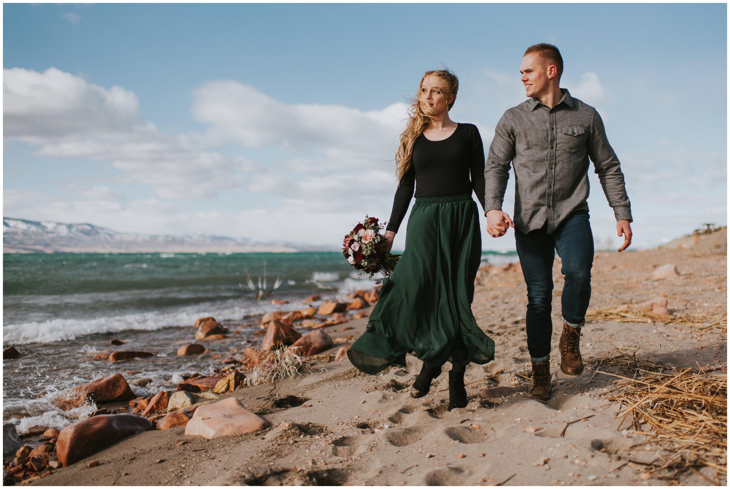 Adventurous couple eloping at the beach  | Wedding Photographer Bear Lake Utah www.riversandroadsphotography.com