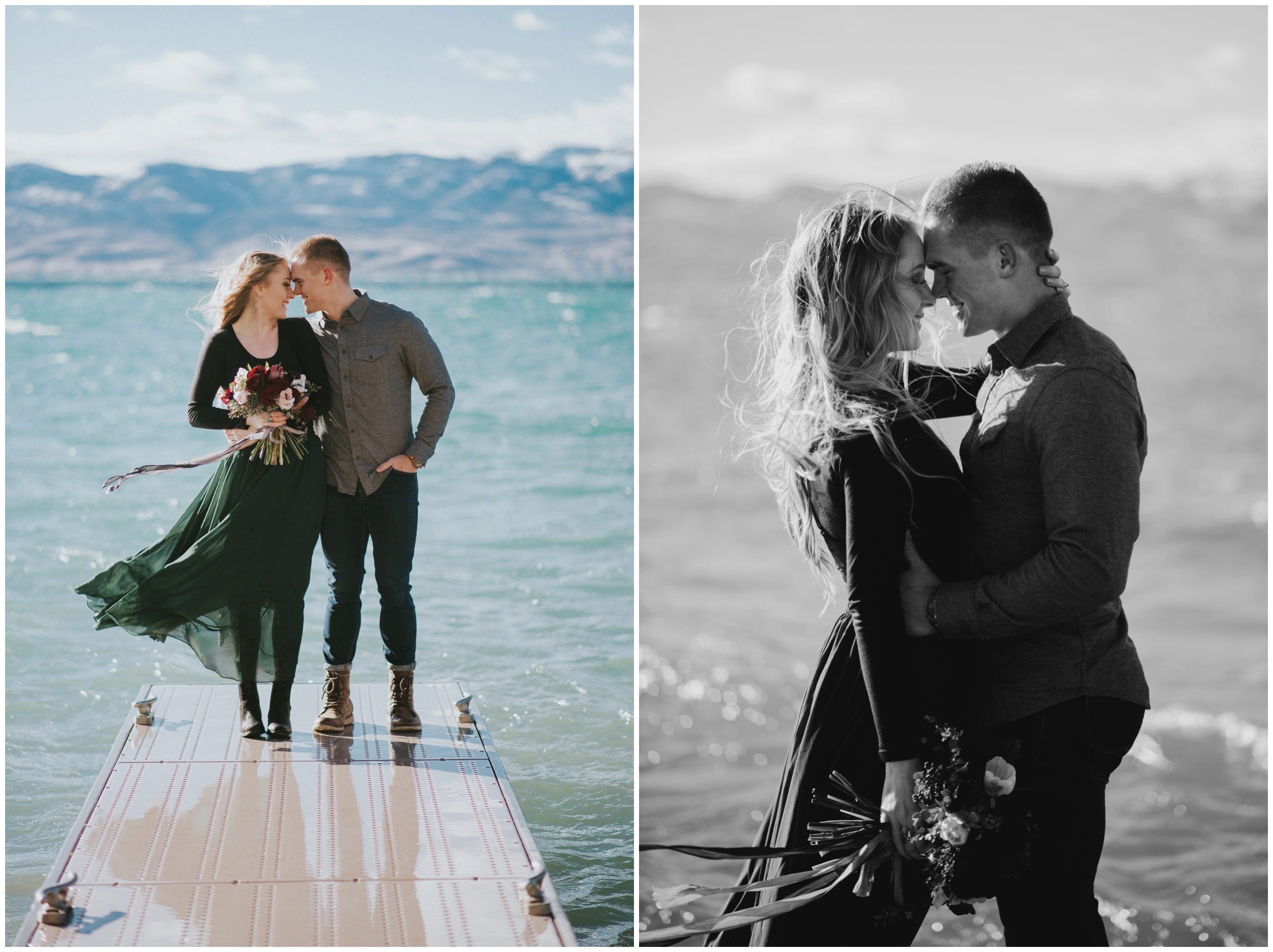 Couple holding each other on a dock with mountains in the background and blue water surrounding them  | Wedding Photographer Bear Lake Utah www.riversandroadsphotography.com
