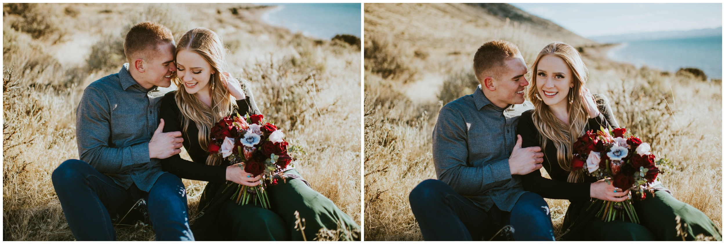 Couple sitting in a field cuddling and smiling  | Wedding Photographer Bear Lake Utah www.riversandroadsphotography.com