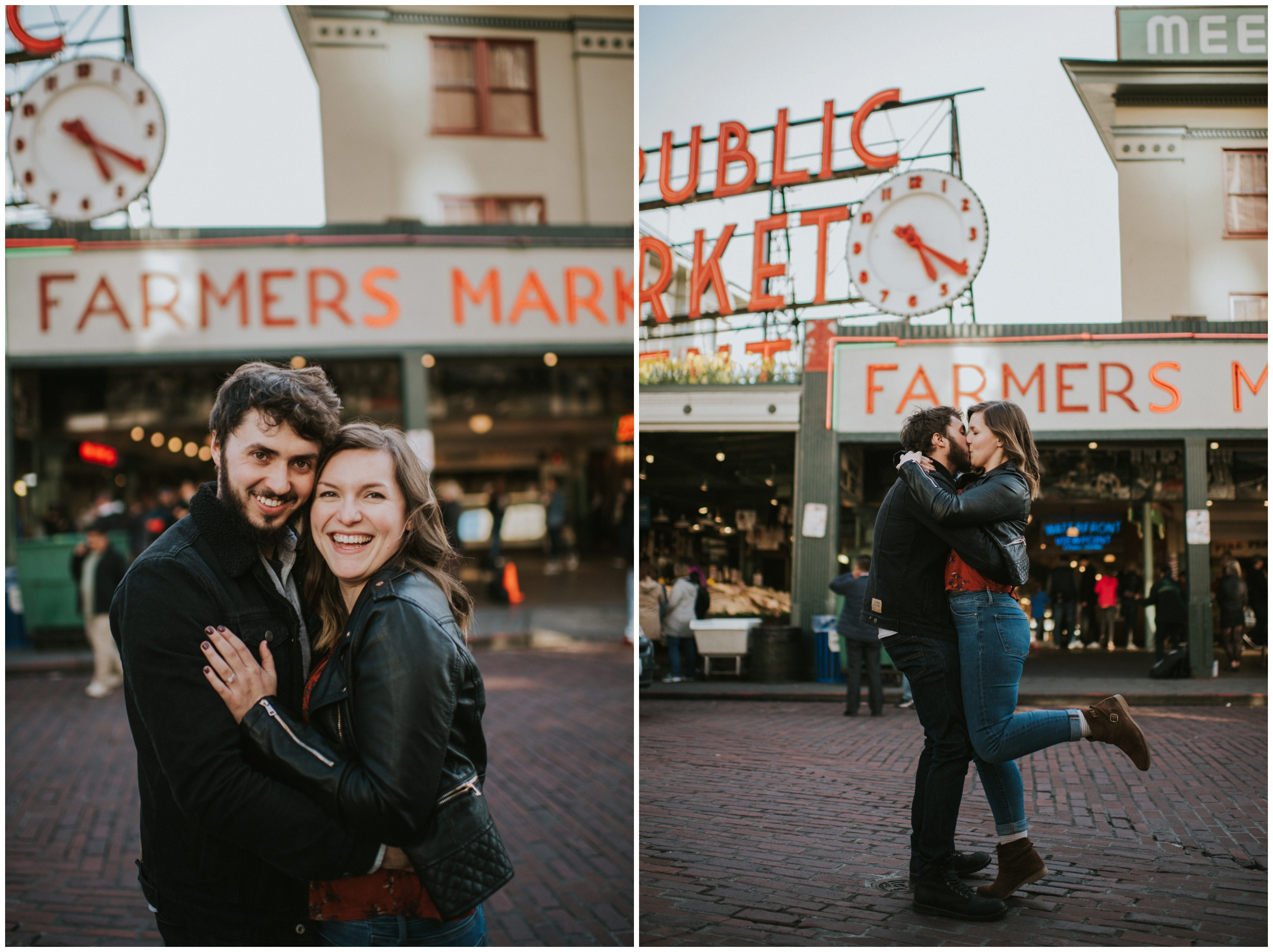 Engaged Couple posing at Pike Place Market | Seattle Engagement Photographer www.riversandroadsphotography.com