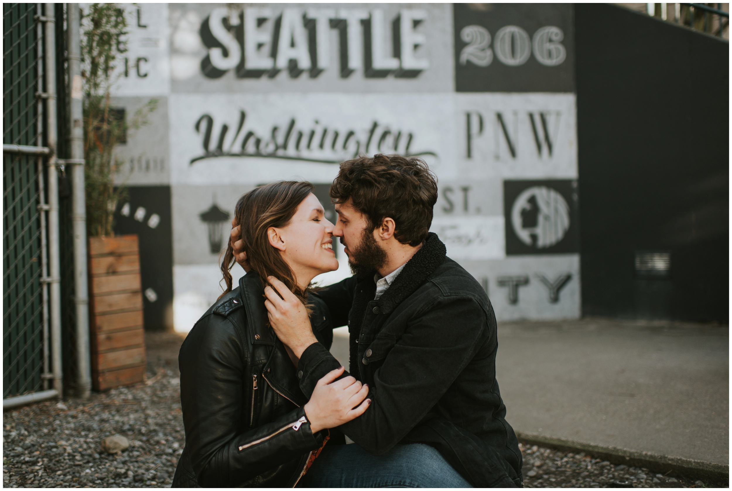Engagement photo session graffiti wall  | Seattle Engagement Photographer www.riversandroadsphotography.com